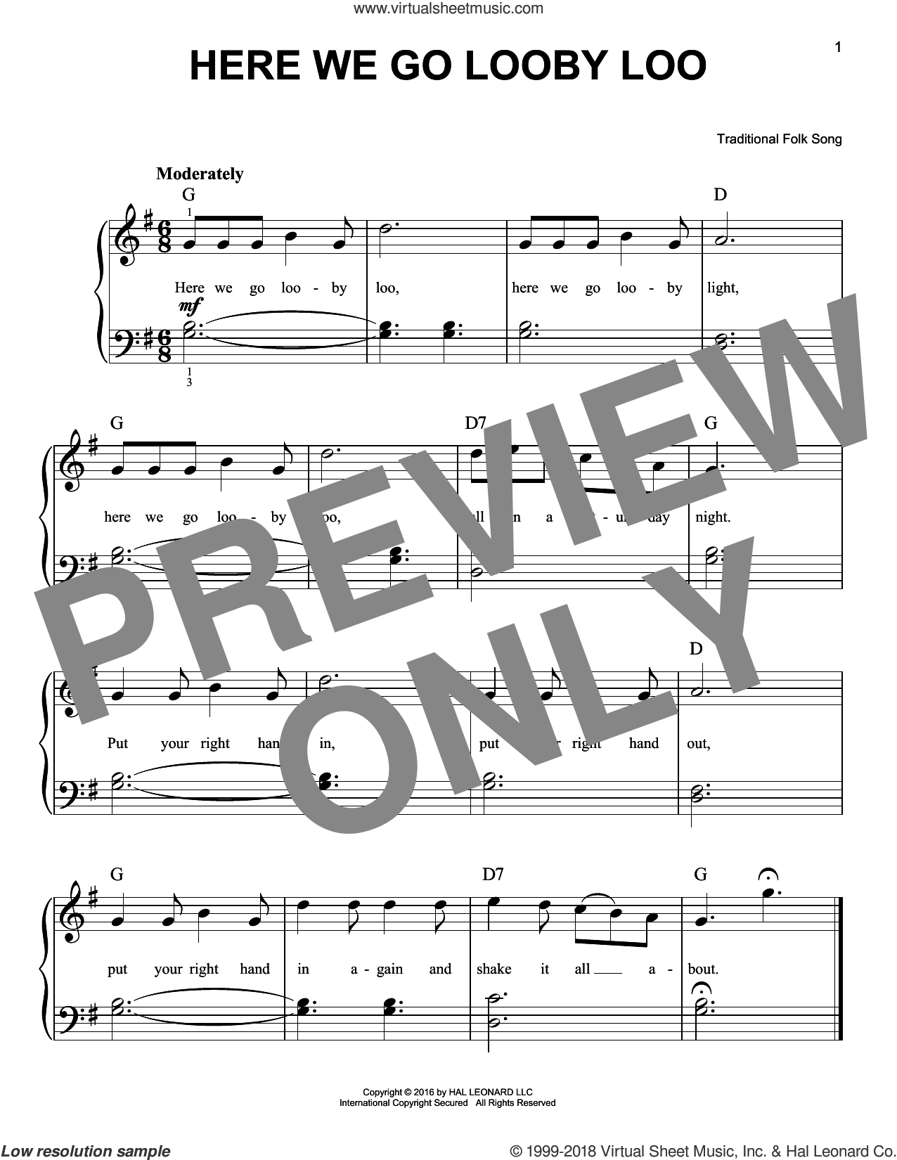 Here We Go Looby Loo sheet music for piano solo by Traditional Folk Song. Score Image Preview.