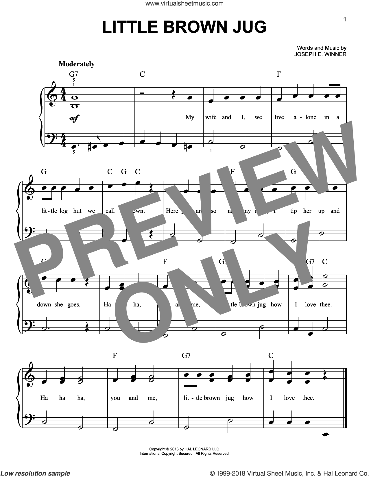 Little Brown Jug sheet music for piano solo by Joseph E. Winner, beginner. Score Image Preview.