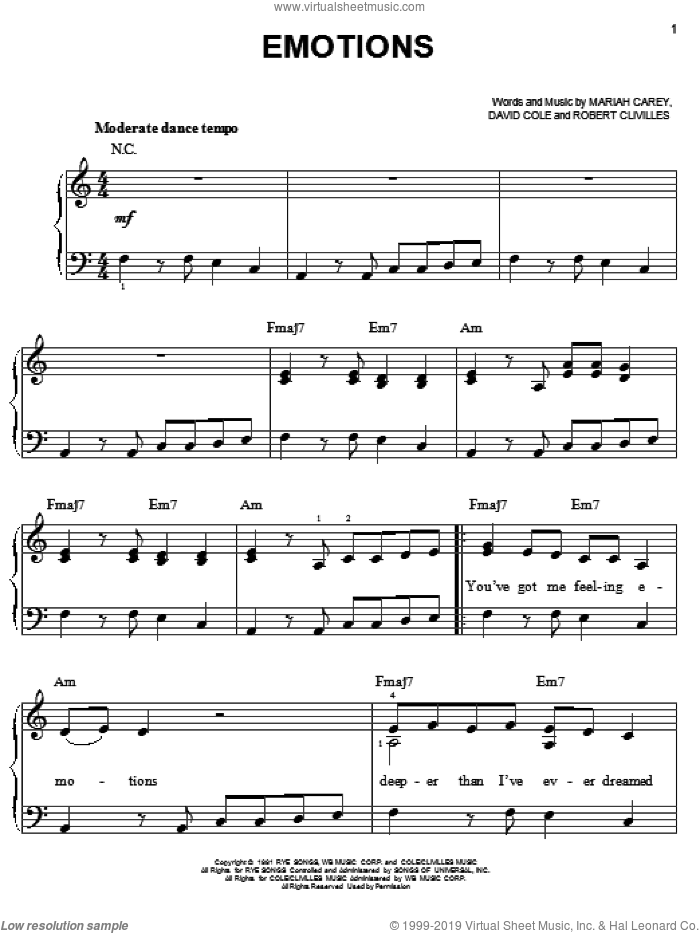 Emotions sheet music for piano solo by Mariah Carey, David Cole and Robert Clivilles, easy skill level