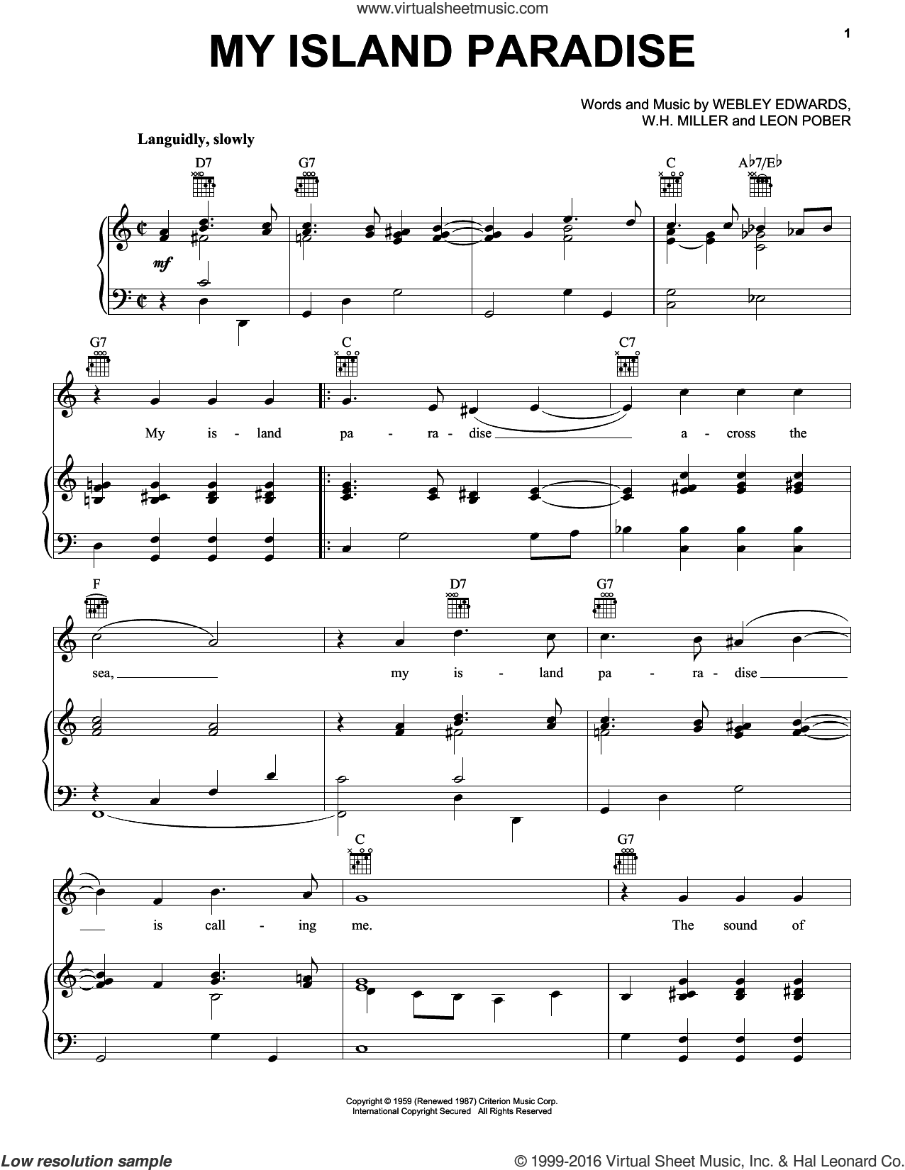 My Island Paradise sheet music for voice, piano or guitar by Leon Pober, W.H. Miller and Webley Edwards, intermediate skill level