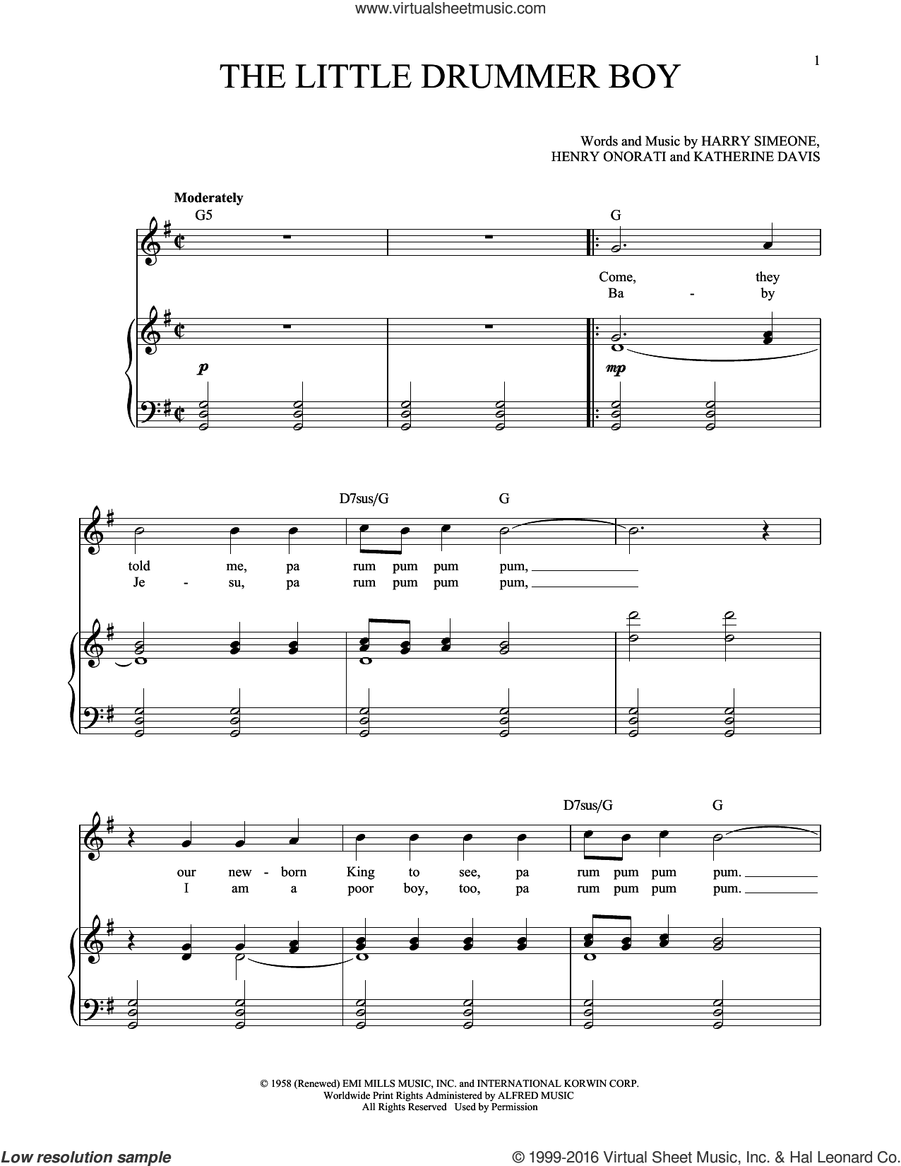 The Little Drummer Boy sheet music for voice and piano (High ) by Katherine Davis, Richard Walters, Harry Simeone and Henry Onorati, intermediate. Score Image Preview.
