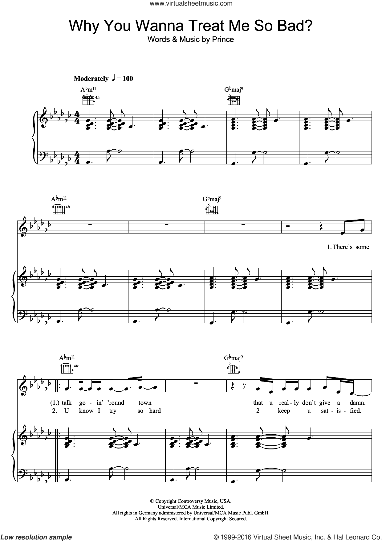 Why You Wanna Treat Me So Bad? sheet music for voice, piano or guitar by Prince, intermediate skill level