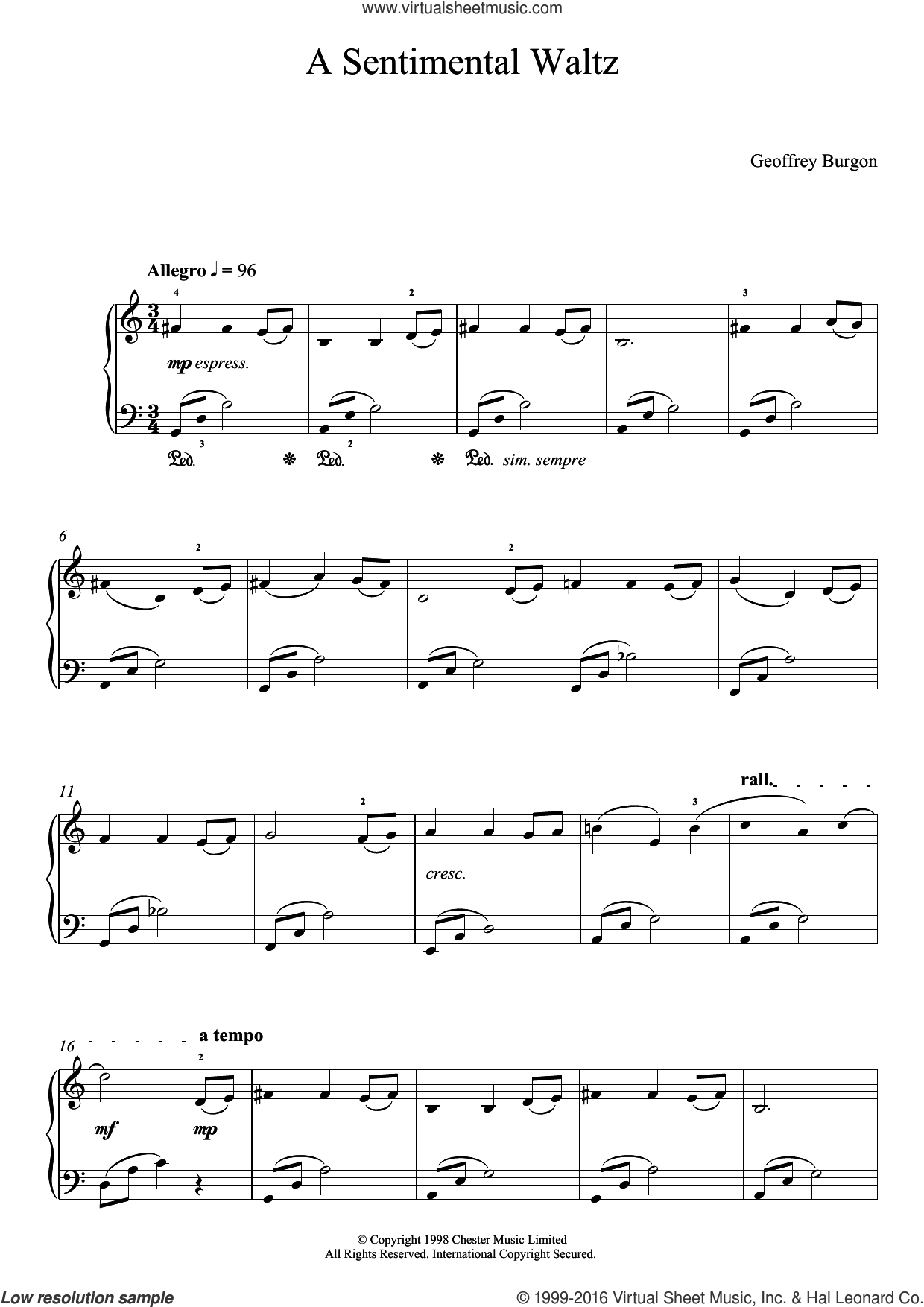 Sentimental Waltz (From 'Nine Easy Pieces For Piano') sheet music for piano solo by Geoffrey Burgon, easy skill level