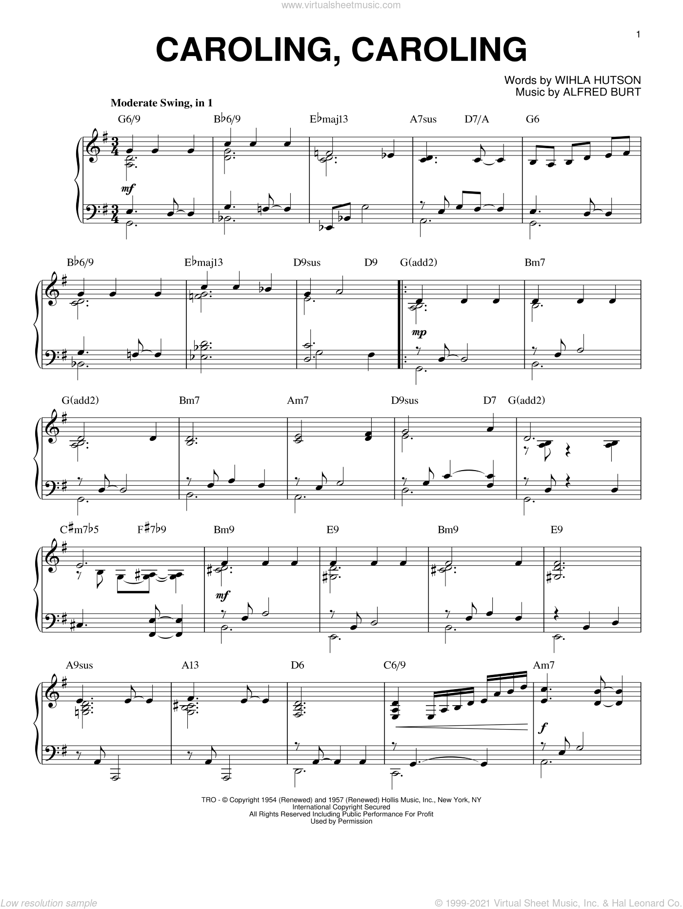 Caroling, Caroling sheet music for piano solo by Alfred Burt and Wihla Hutson, intermediate skill level