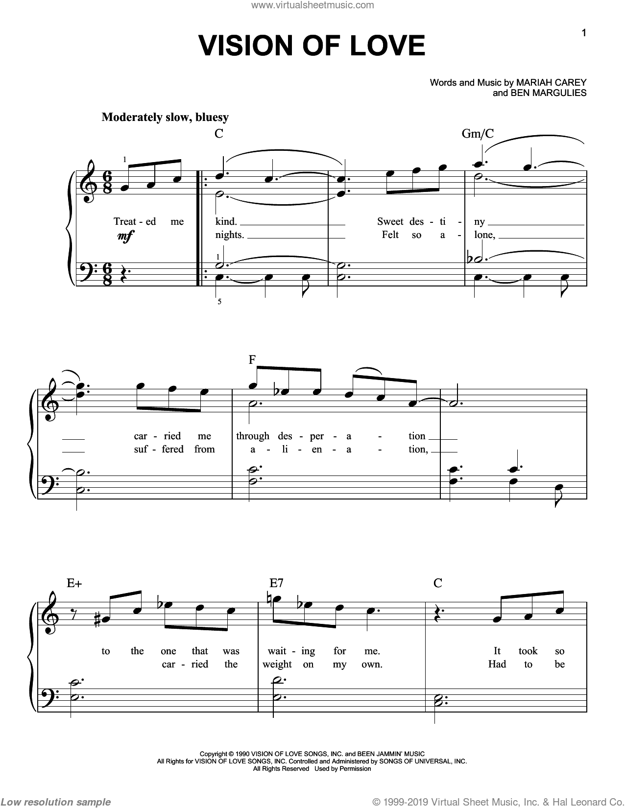 Vision Of Love sheet music for piano solo by Mariah Carey and Ben Margulies, easy skill level