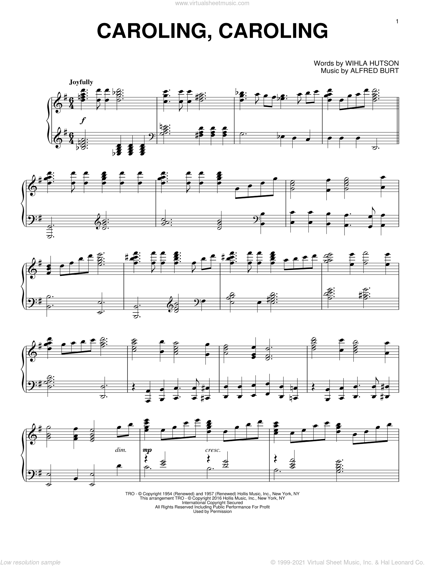Caroling, Caroling sheet music for piano solo by Alfred Burt and Wihla Hutson. Score Image Preview.
