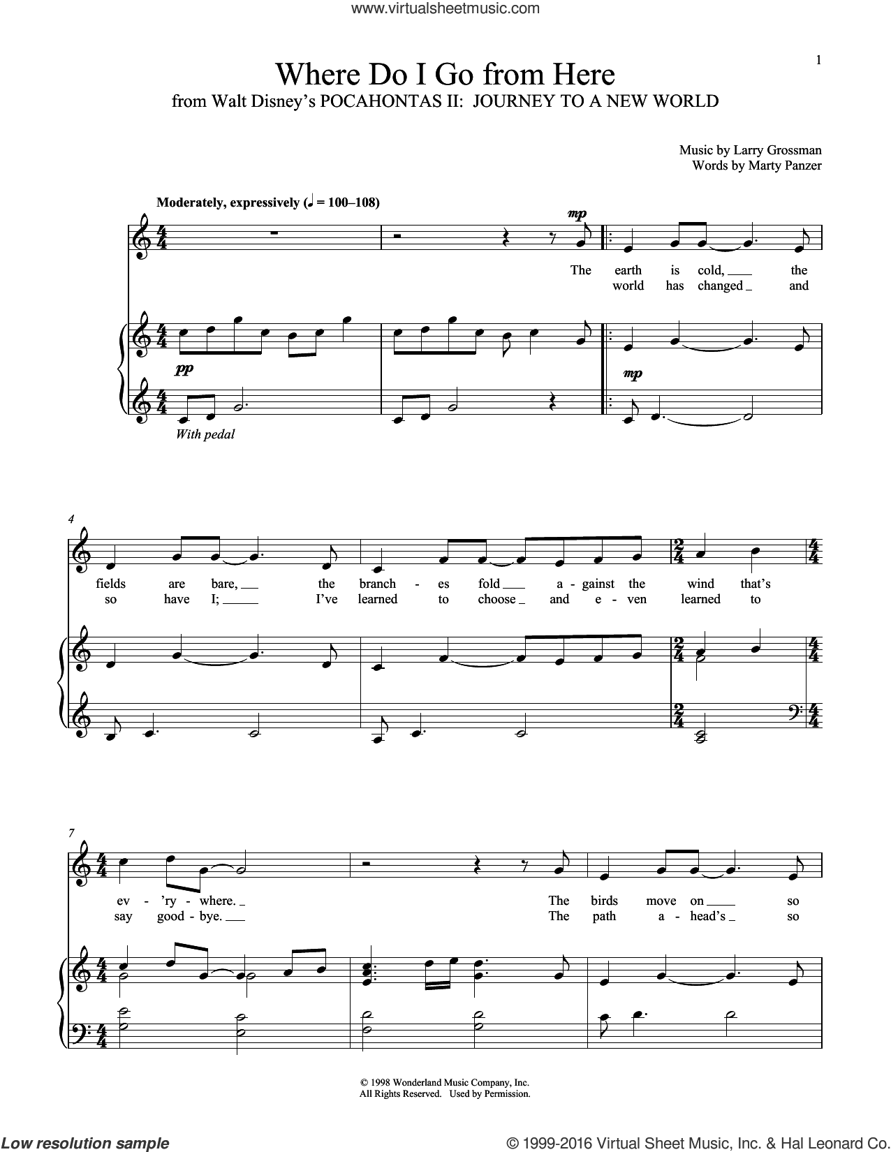 Where Do I Go From Here sheet music for voice and piano by Larry Grossman and Marty Panzer, intermediate skill level