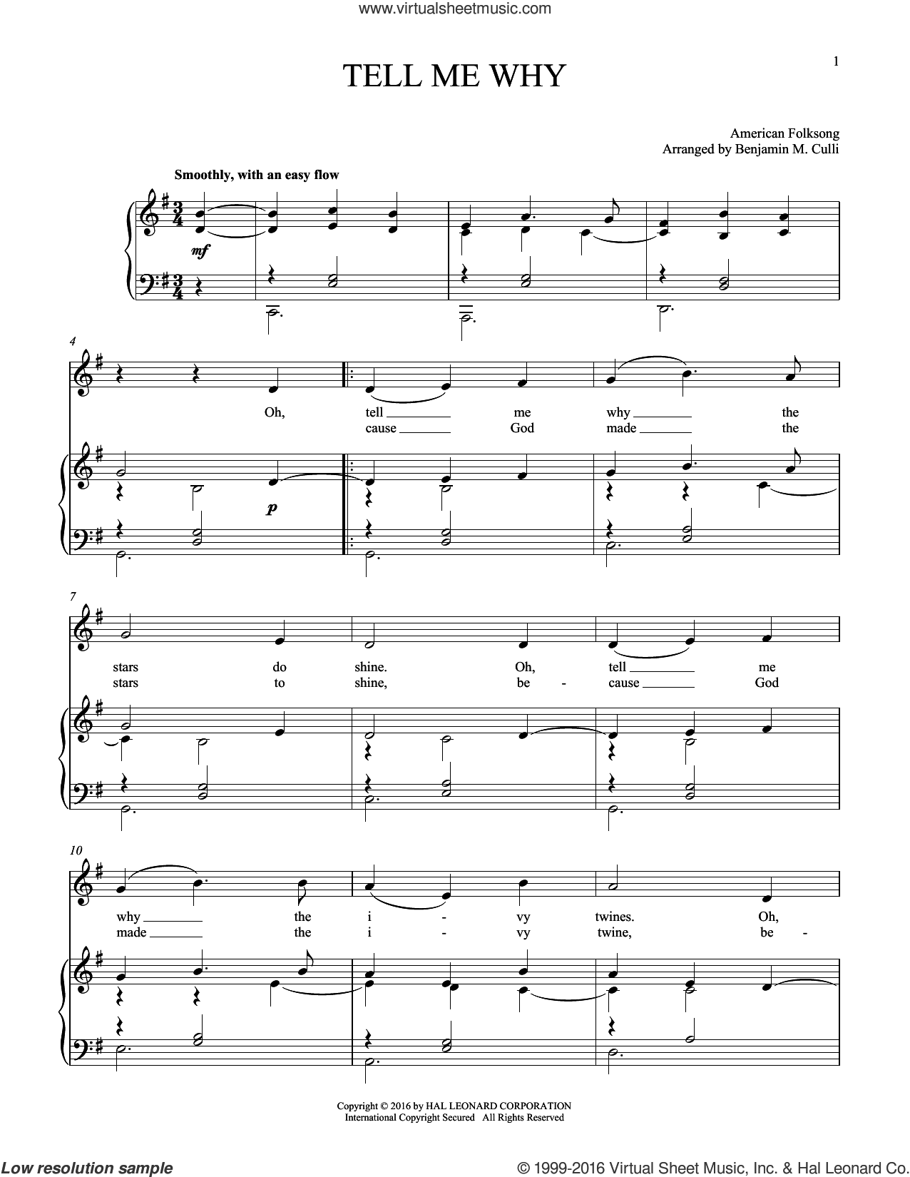Tell Me Why sheet music for voice and piano by American Folksong, intermediate. Score Image Preview.