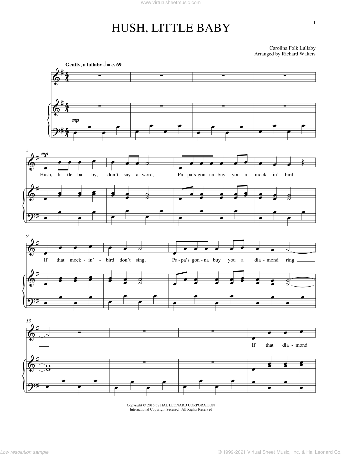 Hush, Little Baby sheet music for voice and piano by Carolina Folk Lullaby. Score Image Preview.