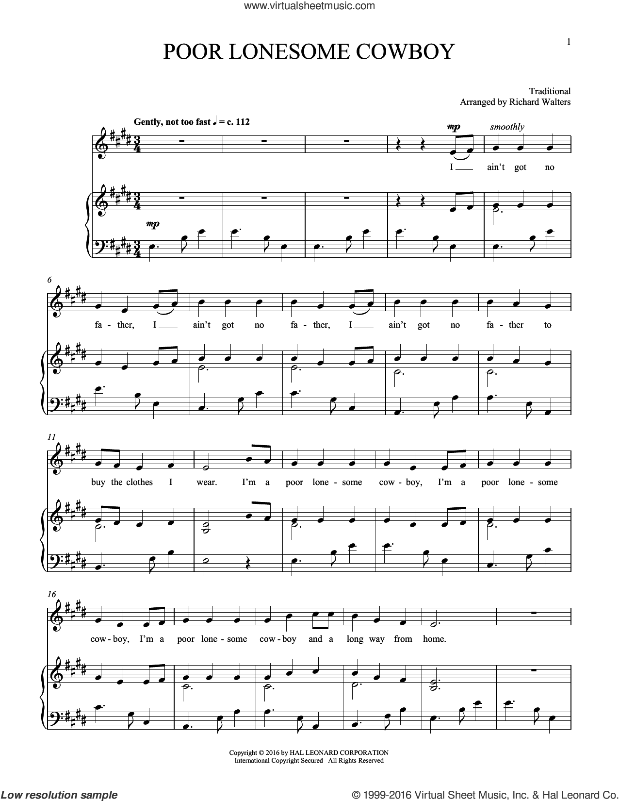 Poor Lonesome Cowboy sheet music for voice and piano. Score Image Preview.