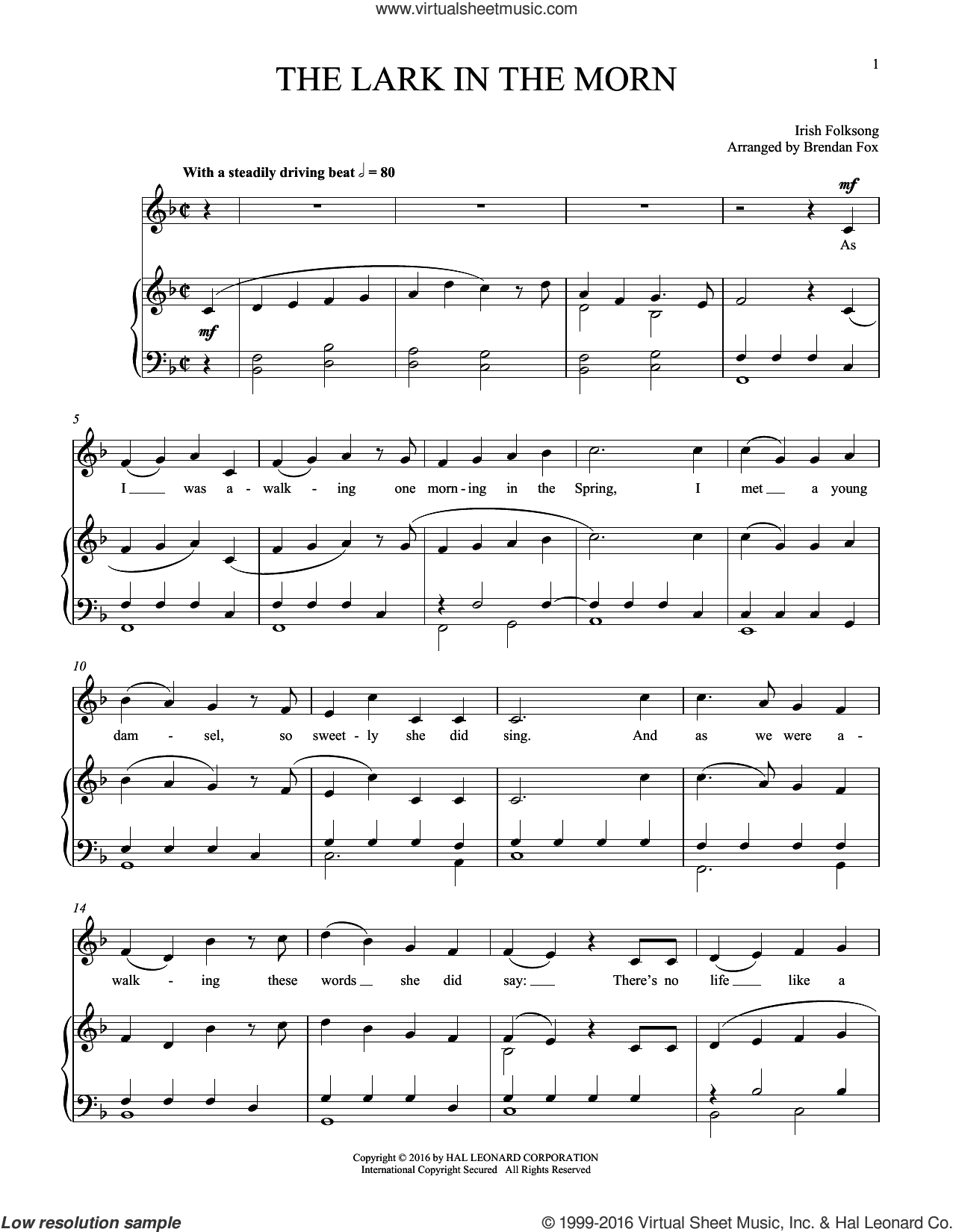 Lark In The Morning sheet music for voice and piano, intermediate