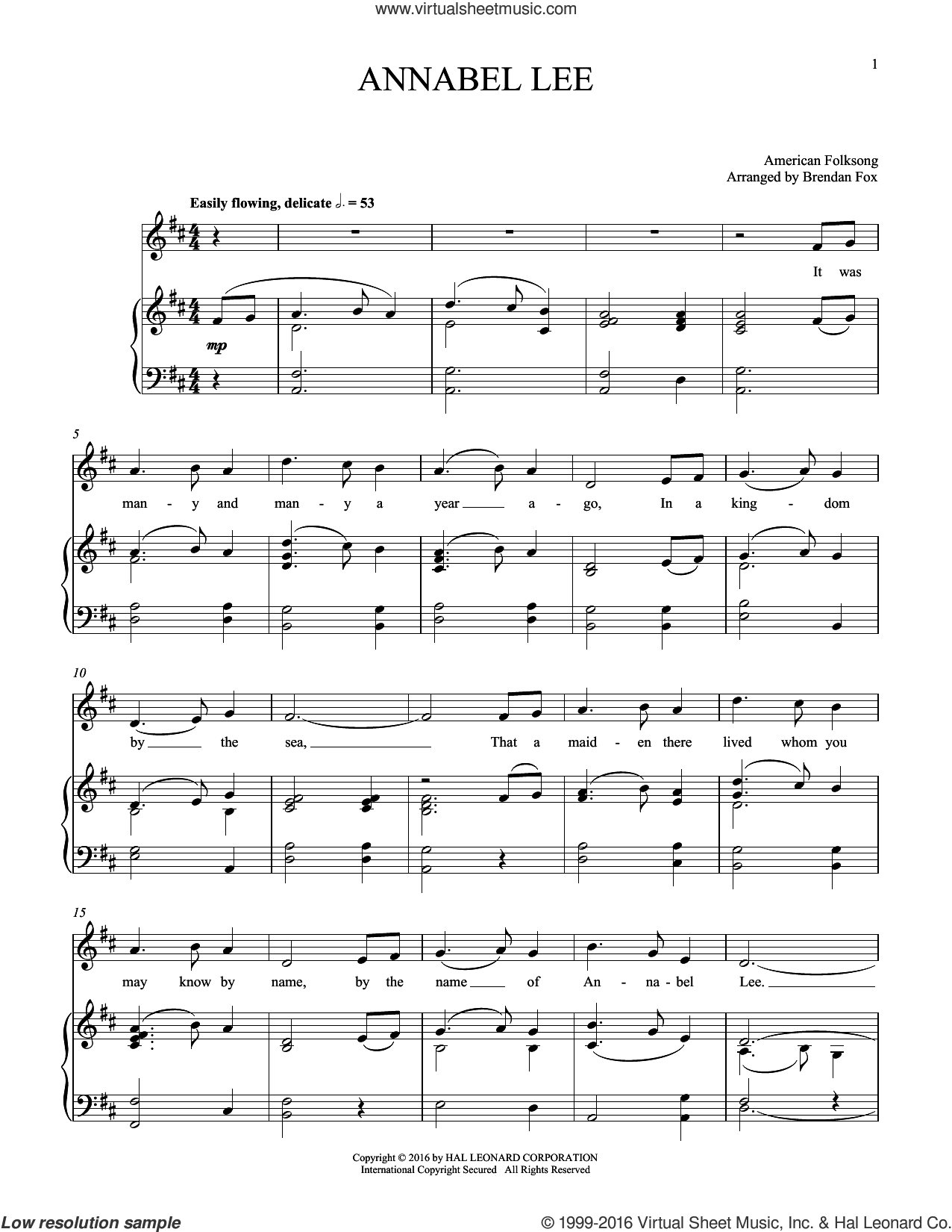 Annabel Lee sheet music for voice and piano, intermediate skill level
