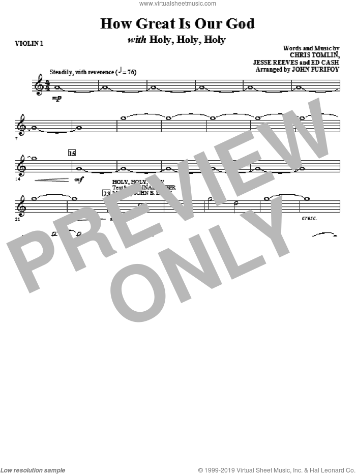 How Great Is Our God with Holy, Holy, Holy (complete set of parts) sheet music for orchestra/band (Strings) by John Purifoy, Chris Tomlin, Ed Cash and Jesse Reeves, intermediate skill level