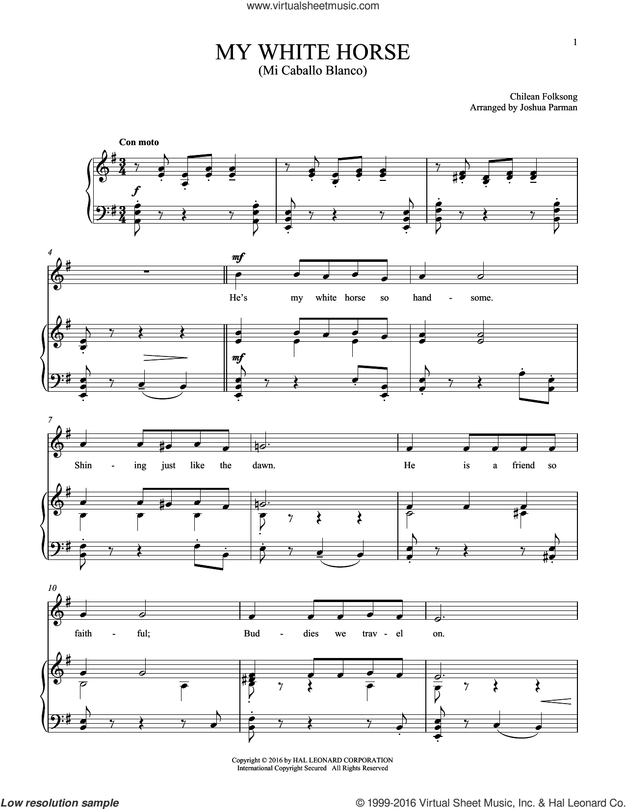 Mi Caballo Blanco (My White Horse) sheet music for voice and piano, intermediate skill level