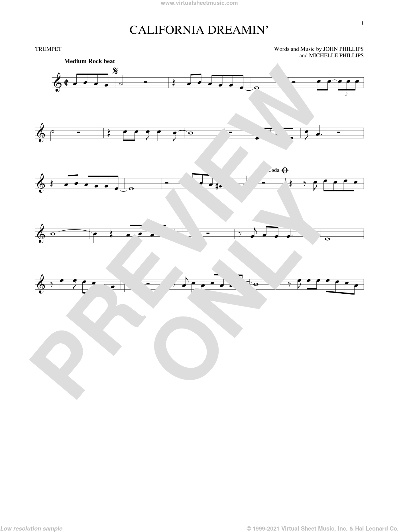California Dreamin' sheet music for trumpet solo by The Mamas & The Papas, John Phillips and Michelle Phillips, intermediate skill level