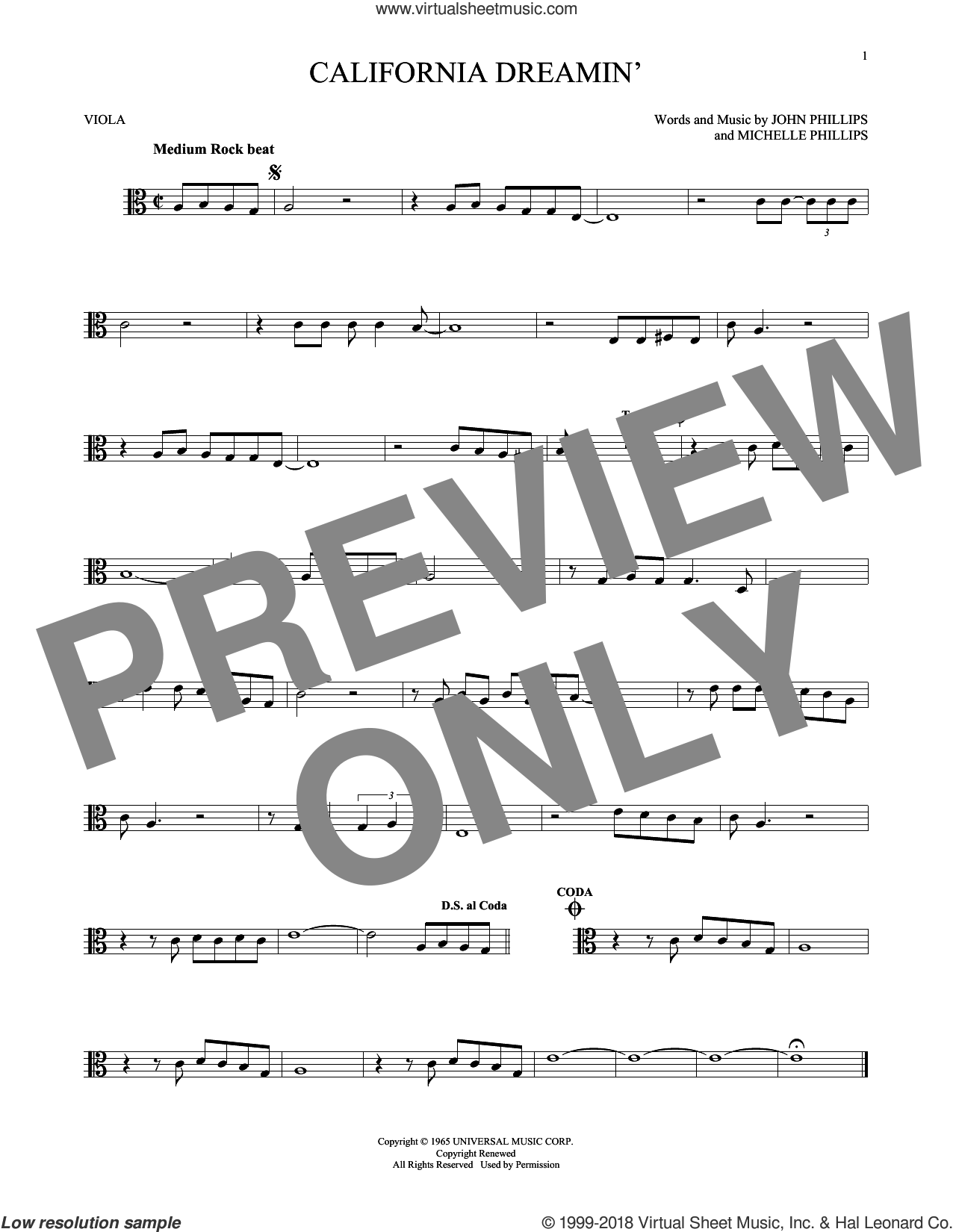 California Dreamin' sheet music for viola solo by The Mamas & The Papas, John Phillips and Michelle Phillips, intermediate skill level
