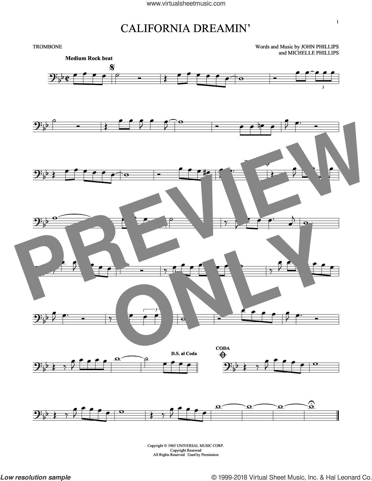 California Dreamin' sheet music for trombone solo by The Mamas & The Papas, John Phillips and Michelle Phillips, intermediate. Score Image Preview.