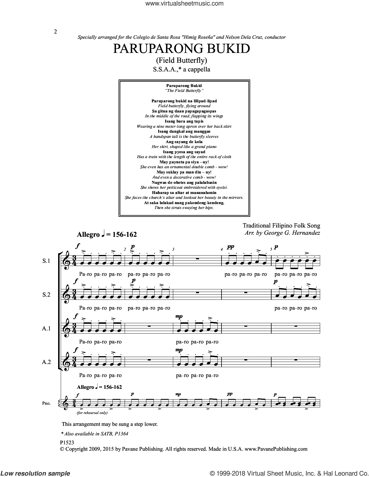 Paruparong Bukid sheet music for choir by George G. Hernandez and Traditional Filipino Folk Song, intermediate skill level