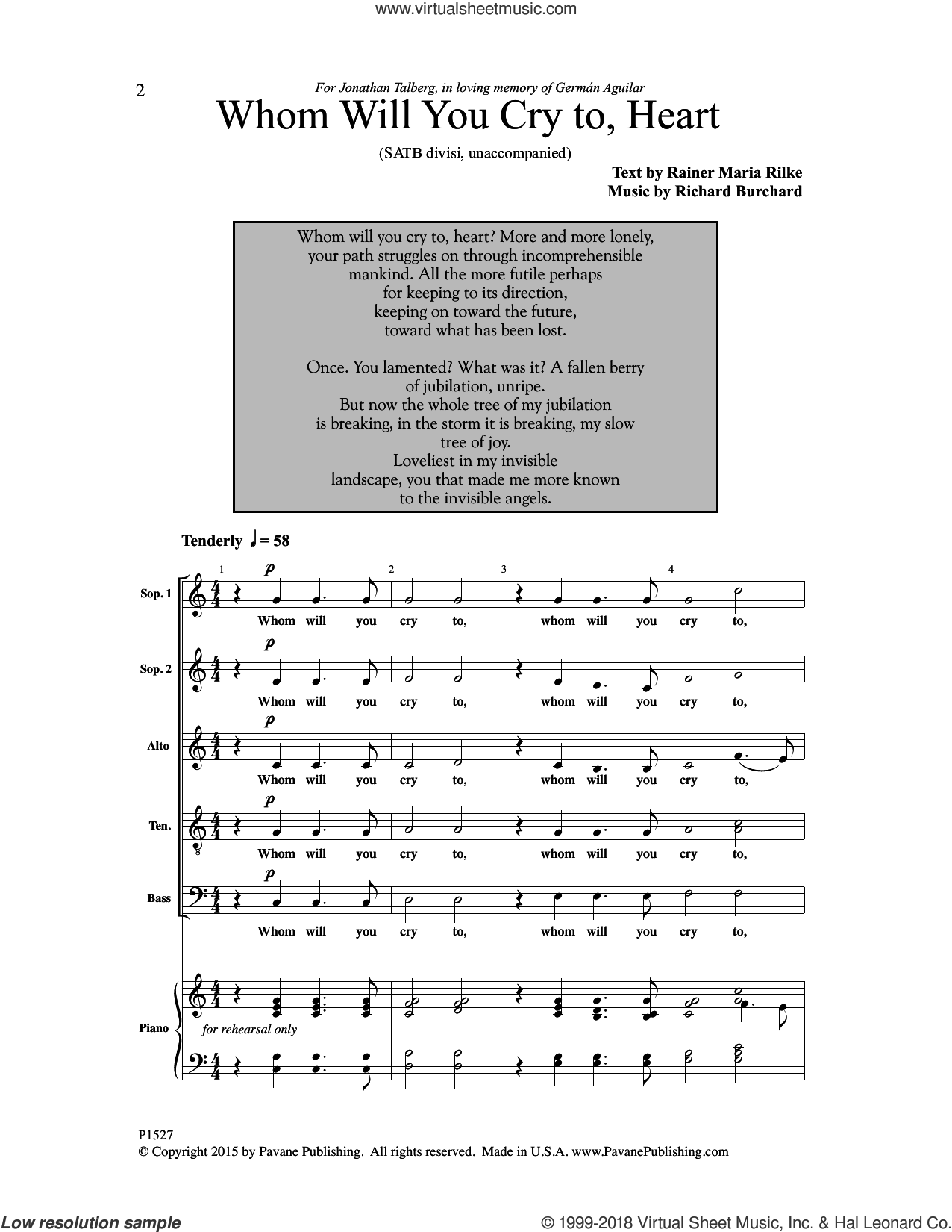 Whom Will You Cry To, Heart? sheet music for choir by Rainer Maria Rilke and Richard Burchard, intermediate skill level