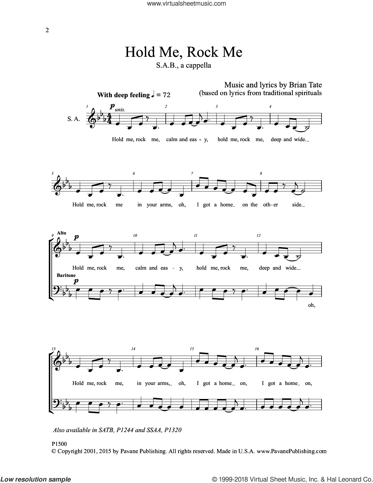 Hold Me, Rock Me sheet music for choir by Brian Tate, intermediate skill level