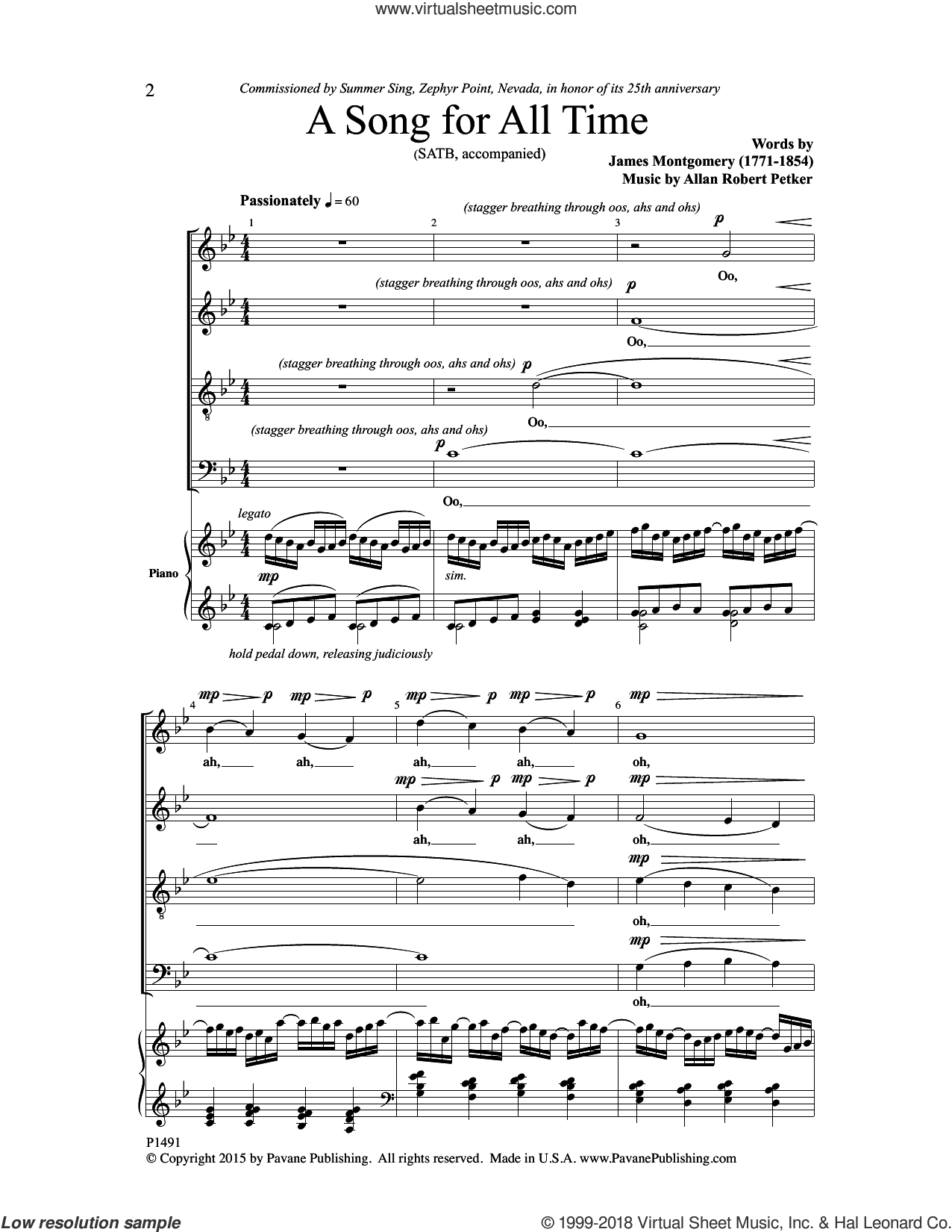 A Song for All Time sheet music for choir (SATB: soprano, alto, tenor, bass) by James Montgomery and Allan Robert Petker, intermediate skill level