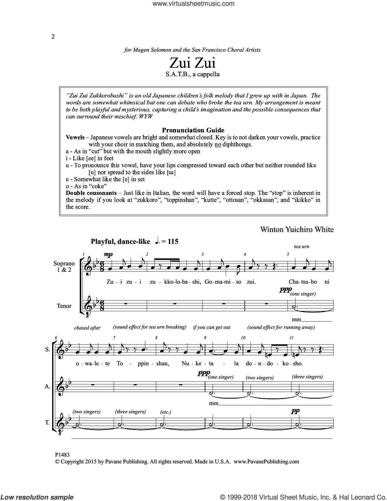 Zui Zui sheet music for choir by Winton Yuichiro White and Japanese Folk Song, intermediate skill level