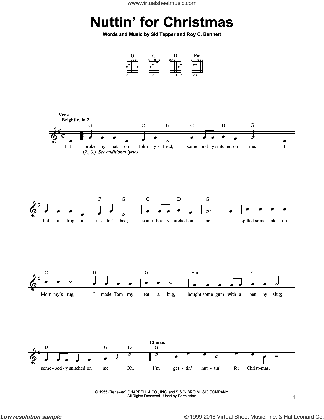 Nuttin' For Christmas sheet music for guitar solo (chords) by Roy Bennett and Sid Tepper, easy guitar (chords)