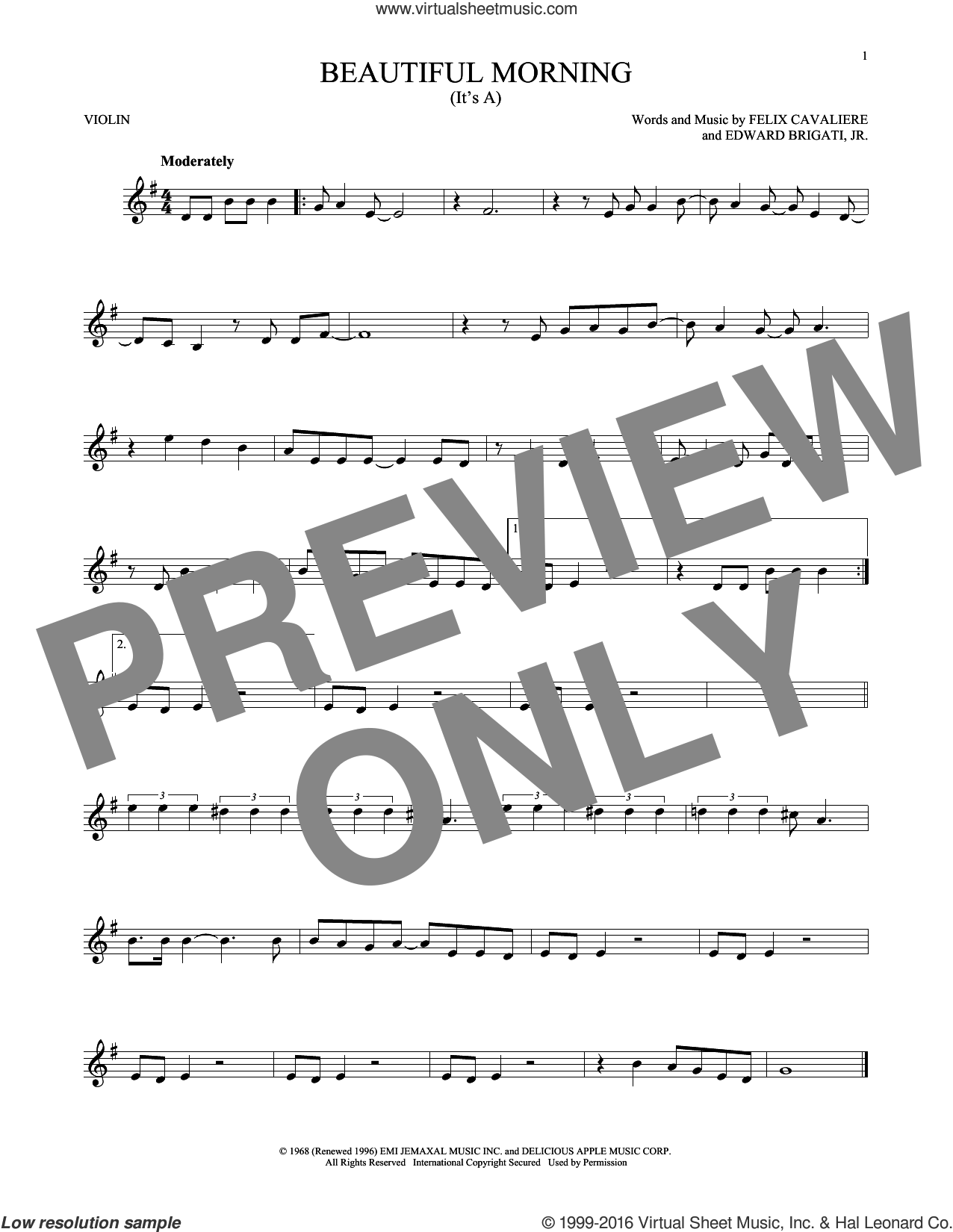 (It's A) Beautiful Morning sheet music for violin solo by The Rascals, Edward Brigati, Jr. and Felix Cavaliere, intermediate skill level