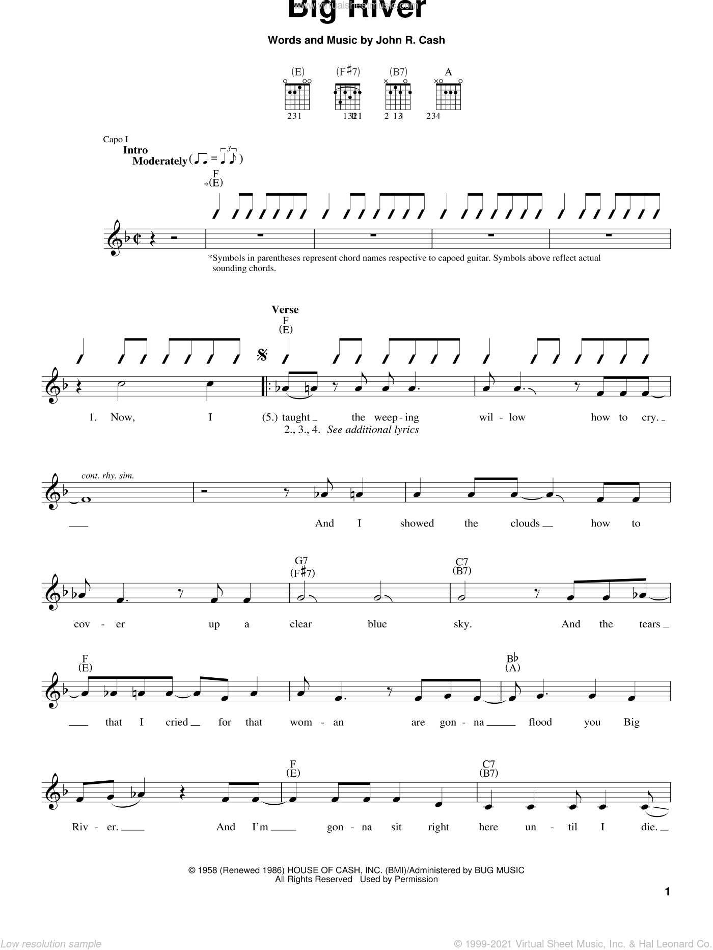 Big River sheet music for guitar solo (chords) by Johnny Cash, easy guitar (chords)