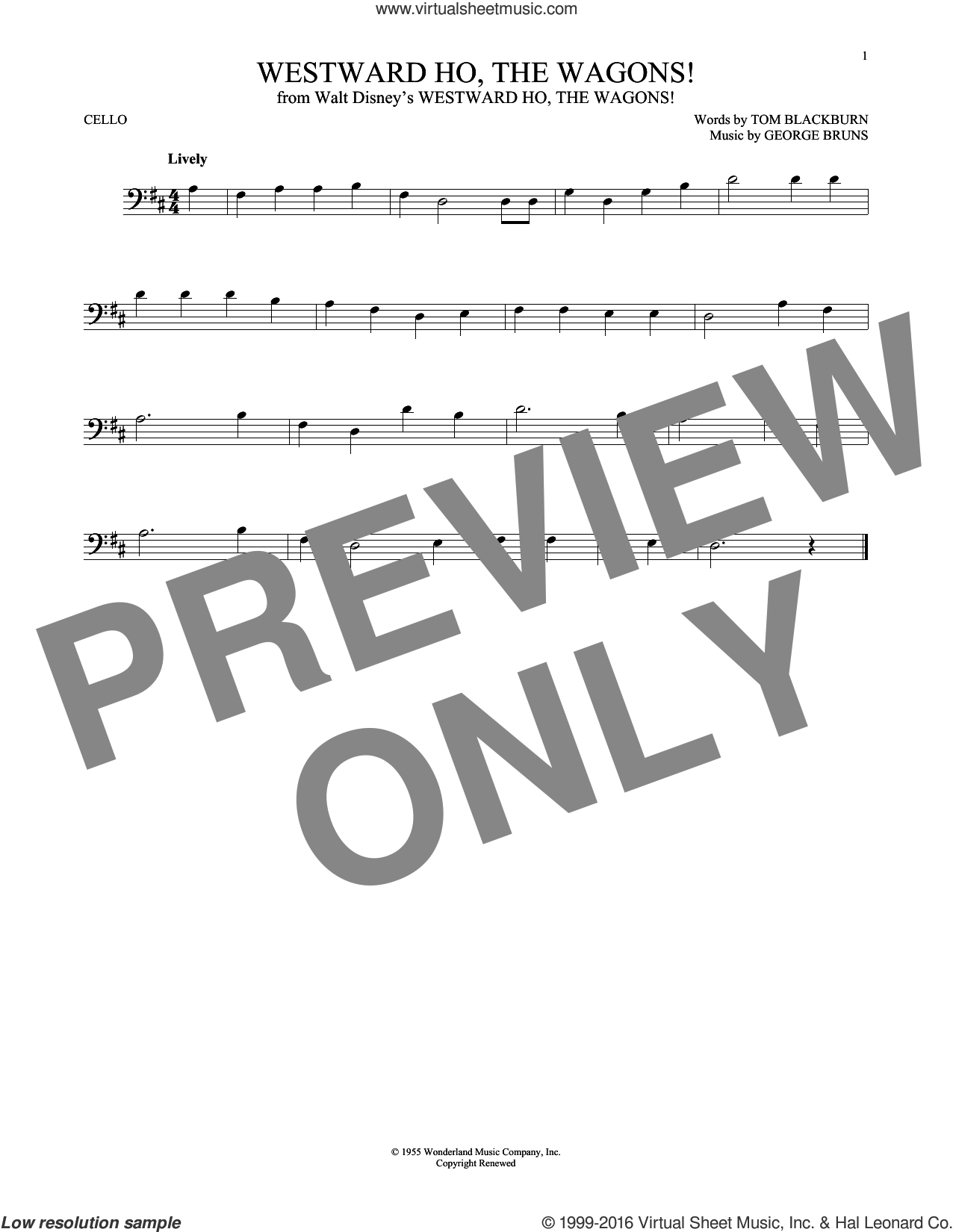 Westward Ho, The Wagons! sheet music for cello solo by George Bruns and Tom Blackburn, intermediate skill level