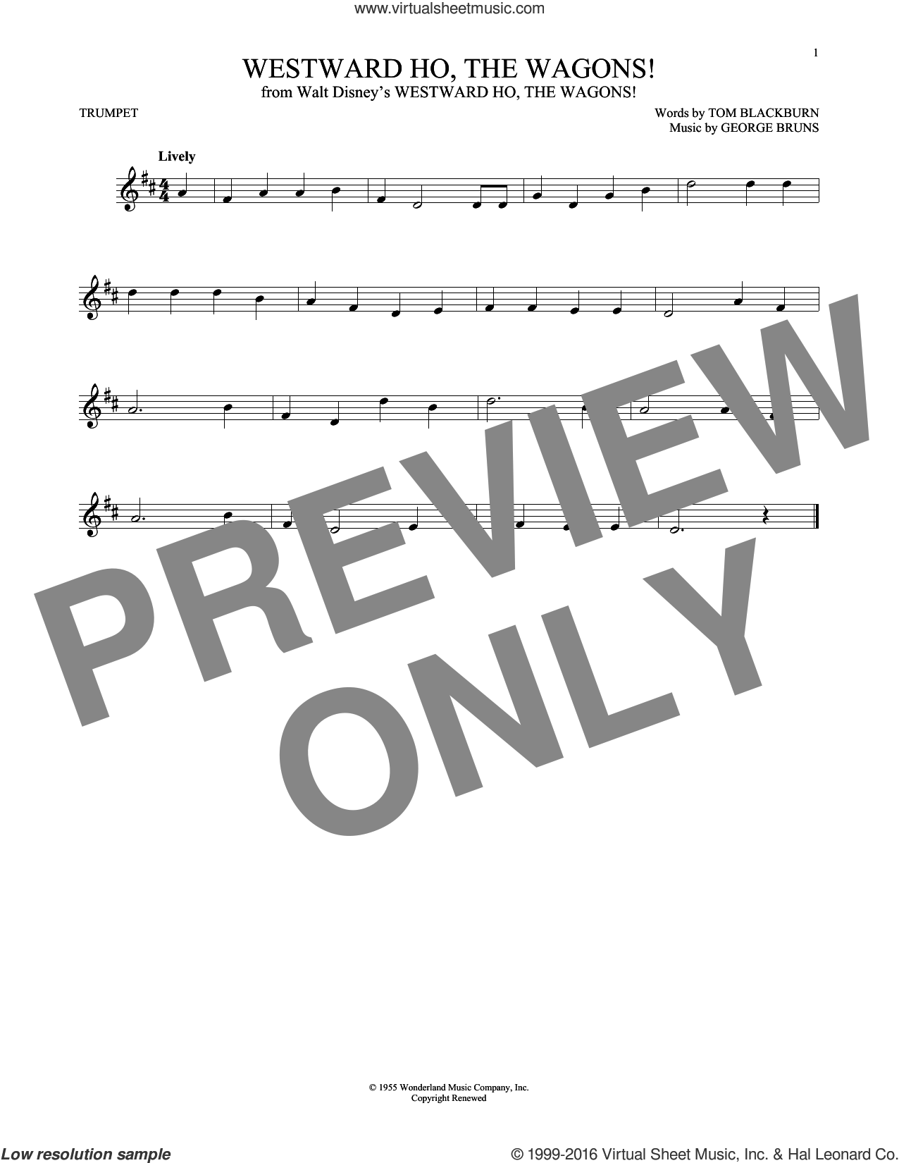 Westward Ho, The Wagons! sheet music for trumpet solo by George Bruns and Tom Blackburn, intermediate skill level
