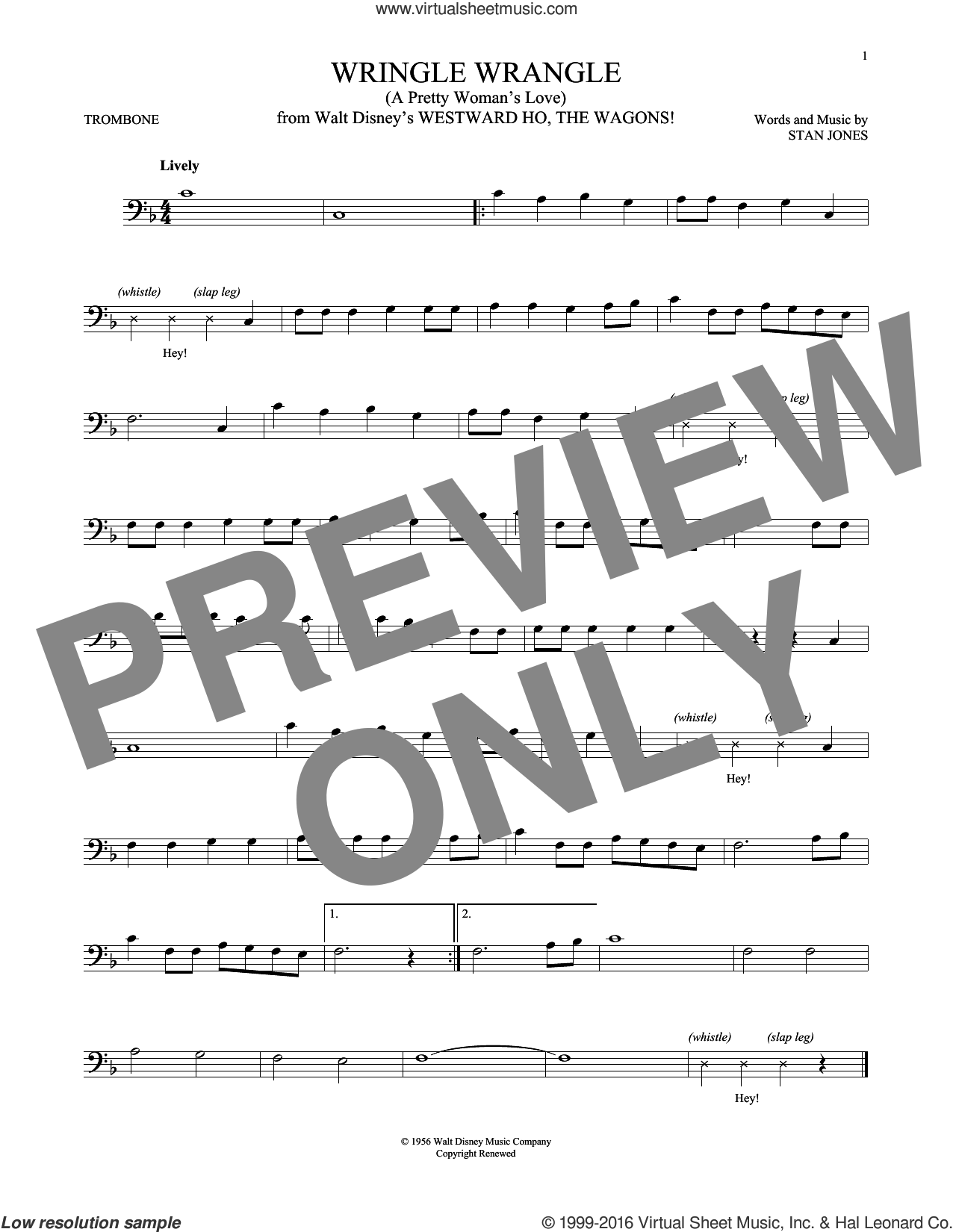 Wringle Wrangle (A Pretty Woman's Love) sheet music for trombone solo by Stan Jones, intermediate skill level