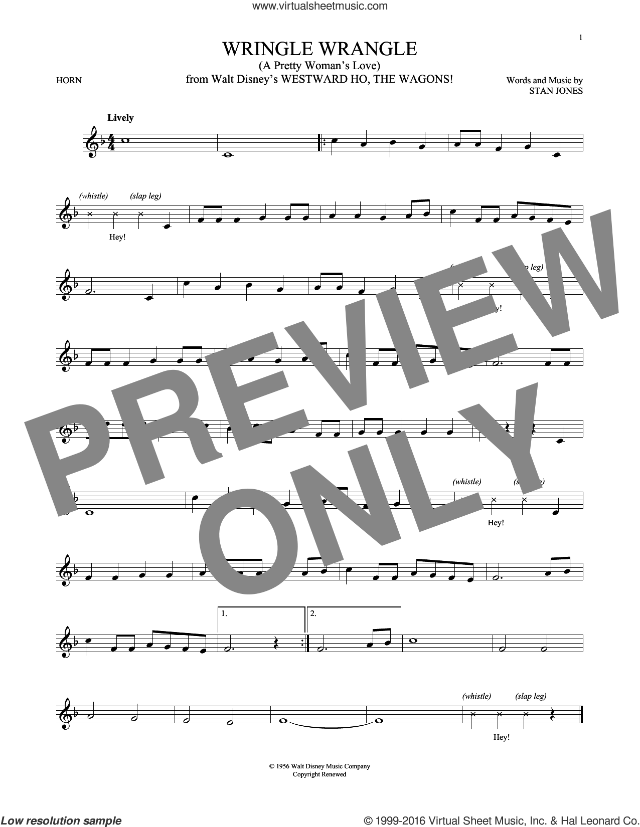 Wringle Wrangle (A Pretty Woman's Love) sheet music for horn solo by Stan Jones, intermediate