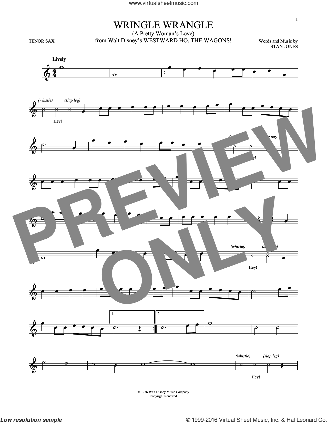 Wringle Wrangle (A Pretty Woman's Love) sheet music for tenor saxophone solo by Stan Jones. Score Image Preview.