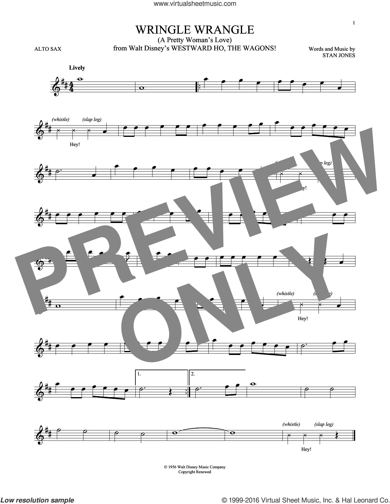 Wringle Wrangle (A Pretty Woman's Love) sheet music for alto saxophone solo by Stan Jones. Score Image Preview.