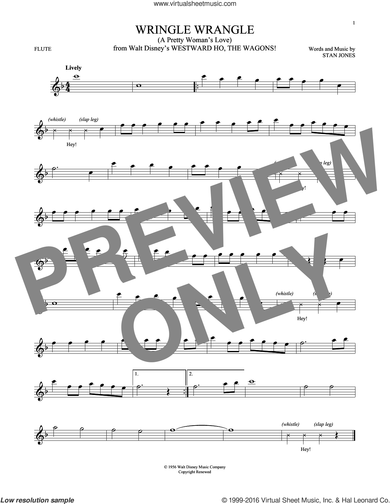 Wringle Wrangle (A Pretty Woman's Love) sheet music for flute solo by Stan Jones. Score Image Preview.