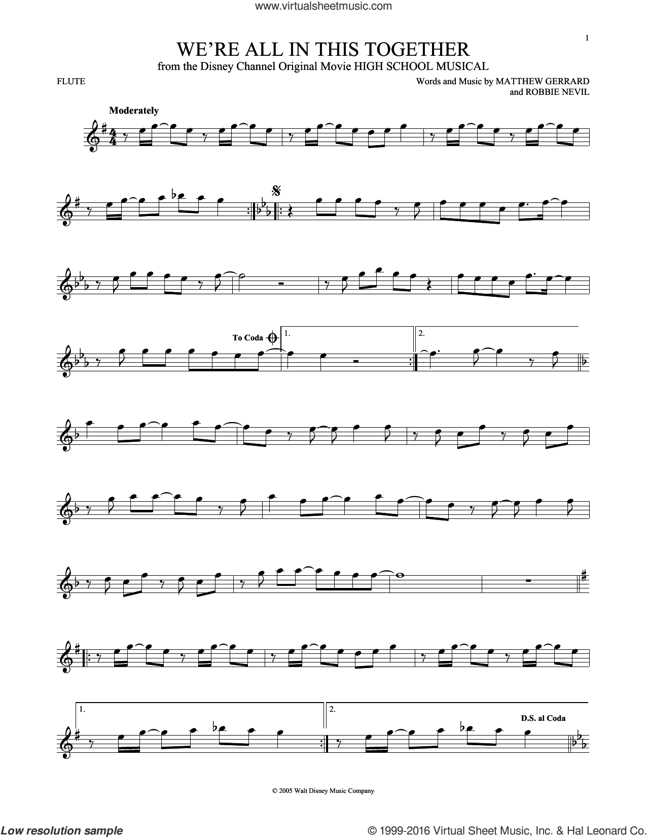 We're All In This Together sheet music for flute solo by Matthew Gerrard and Robbie Nevil, intermediate flute. Score Image Preview.
