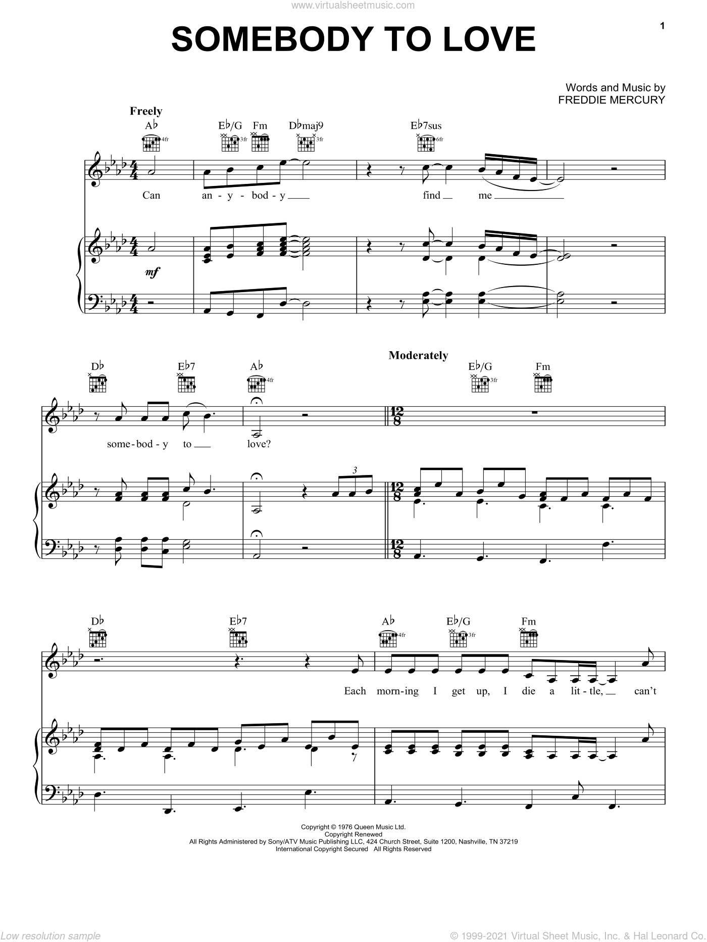 Somebody To Love sheet music for voice, piano or guitar by Queen, Miscellaneous and Freddie Mercury, intermediate skill level