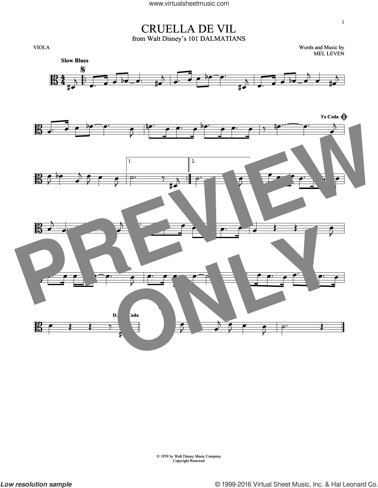 Cruella De Vil sheet music for viola solo by Mel Leven, intermediate viola. Score Image Preview.