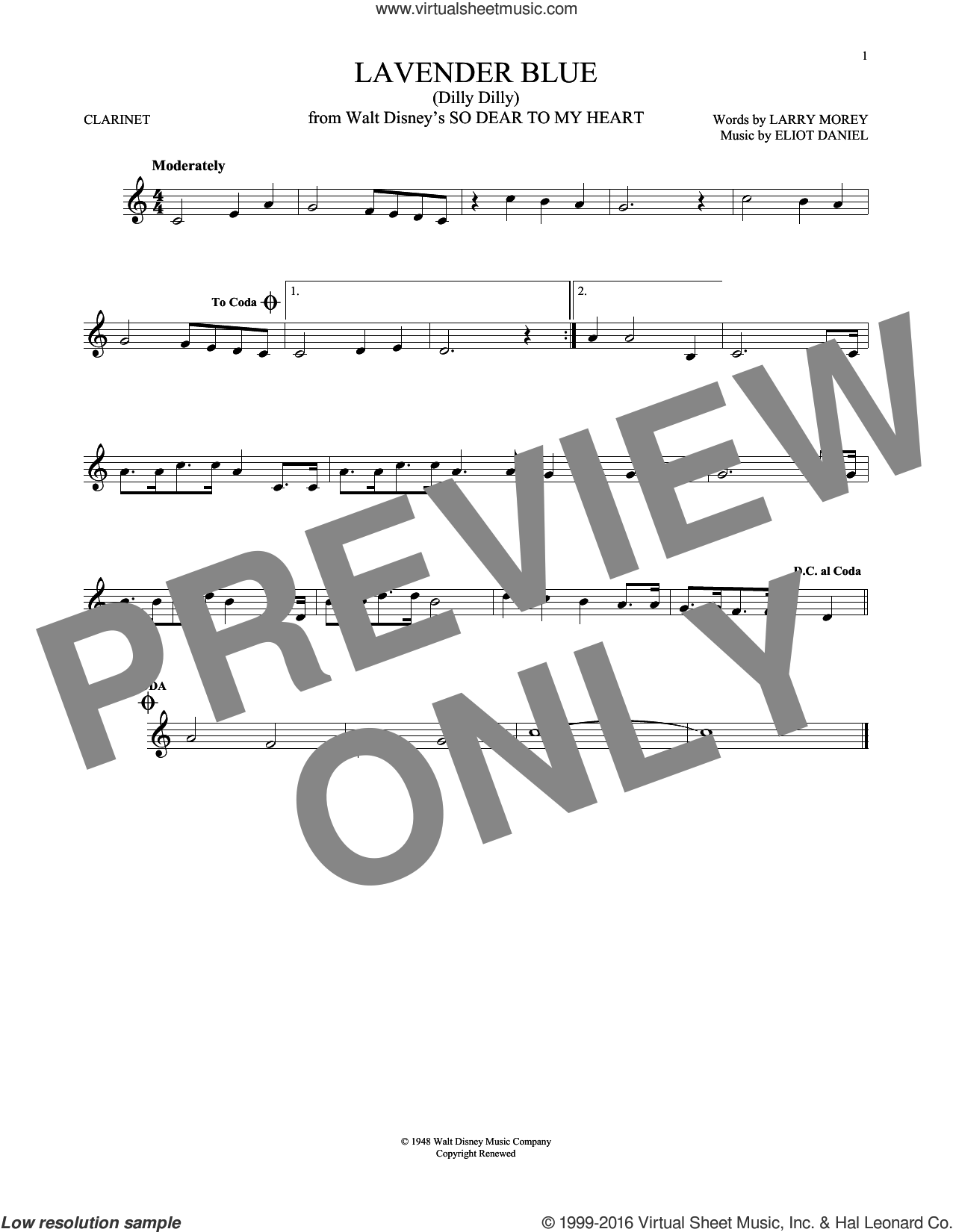 Lavender Blue (Dilly Dilly) sheet music for clarinet solo by Sammy Turner, Eliot Daniel and Larry Morey, intermediate skill level