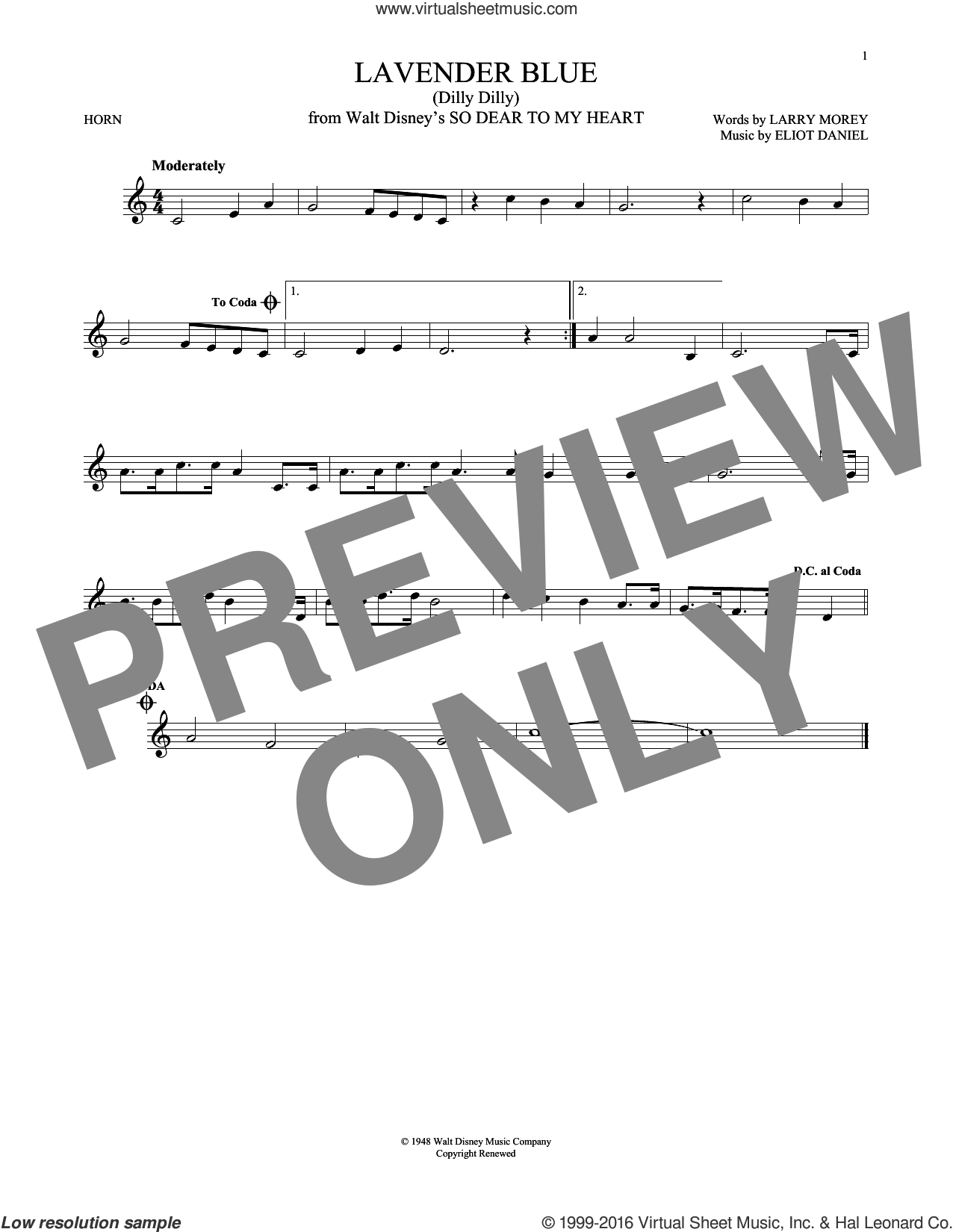Lavender Blue (Dilly Dilly) sheet music for horn solo by Sammy Turner, Eliot Daniel and Larry Morey, intermediate skill level