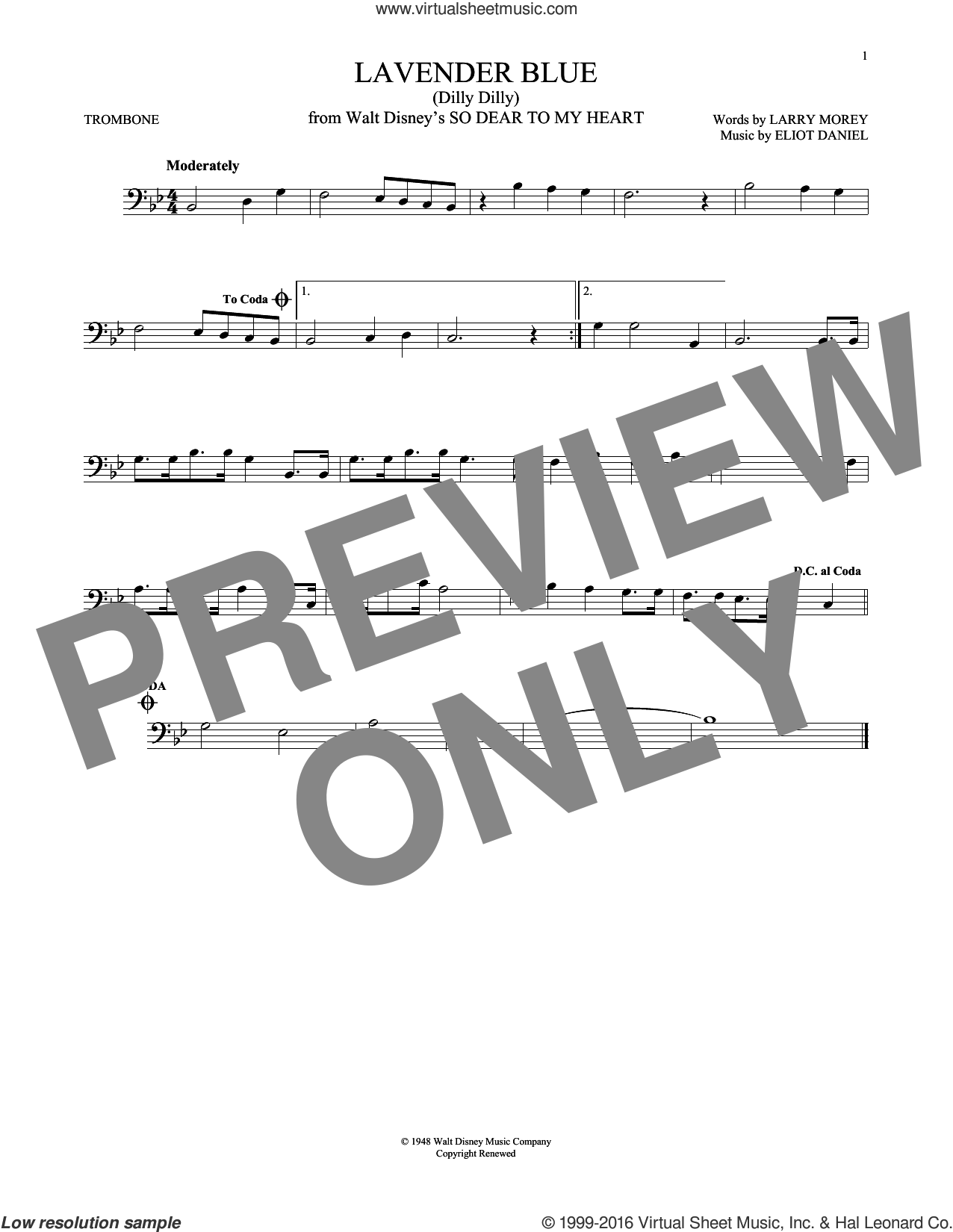 Lavender Blue (Dilly Dilly) sheet music for trombone solo by Sammy Turner, Eliot Daniel and Larry Morey. Score Image Preview.