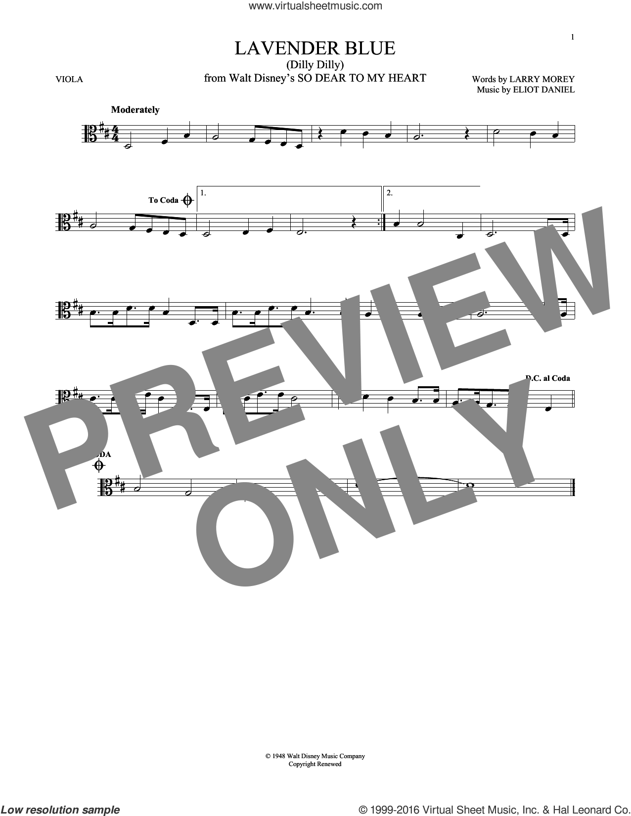 Lavender Blue (Dilly Dilly) sheet music for viola solo by Sammy Turner, Eliot Daniel and Larry Morey, intermediate skill level