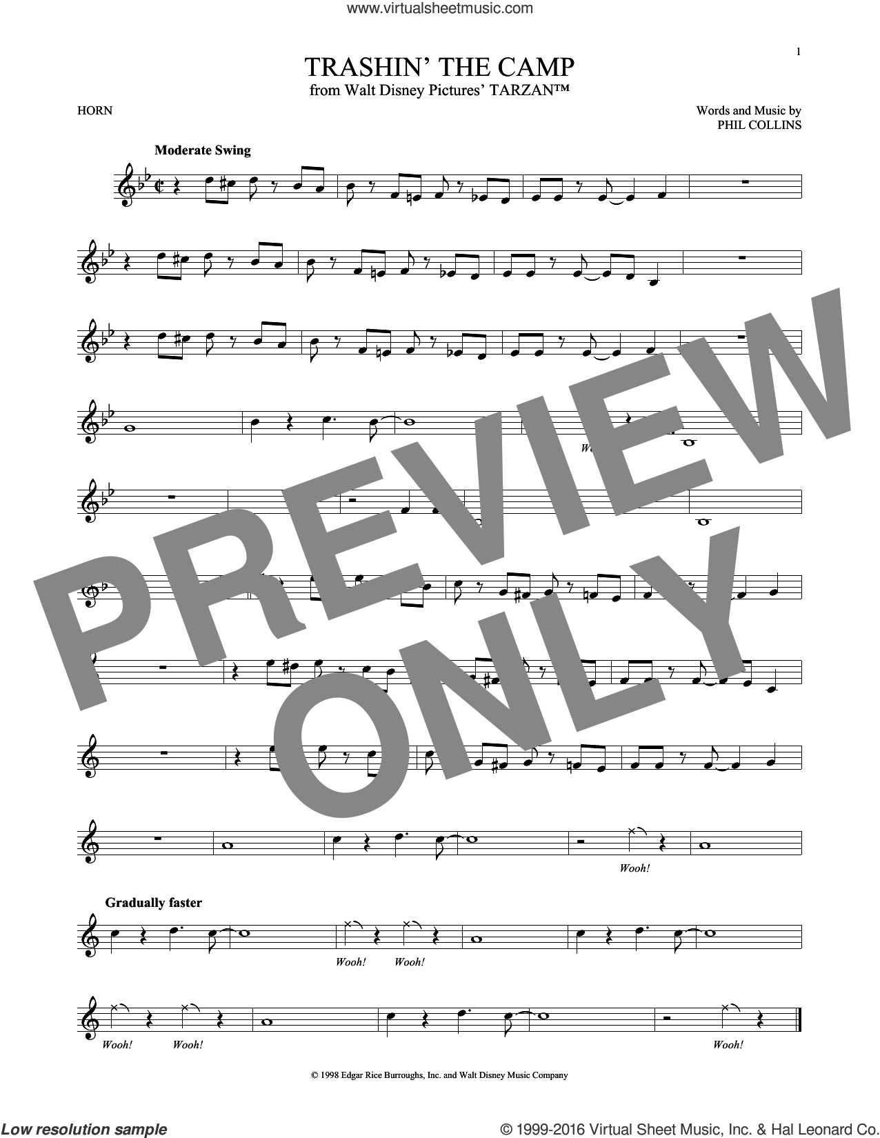 Trashin' The Camp sheet music for horn solo by Phil Collins, intermediate horn. Score Image Preview.