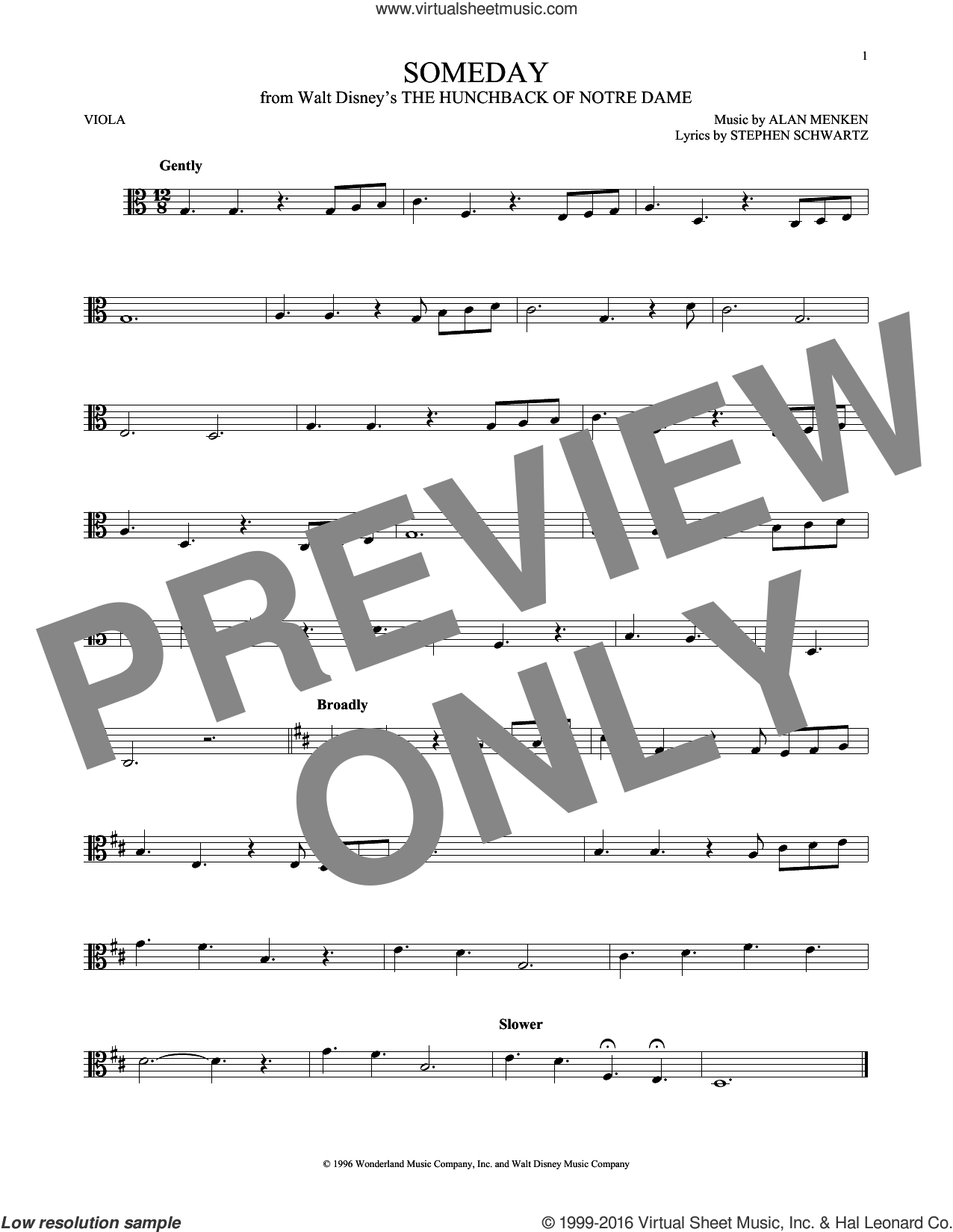 Someday (Esmeralda's Prayer) sheet music for viola solo by Alan Menken, Donna Summer and Stephen Schwartz. Score Image Preview.