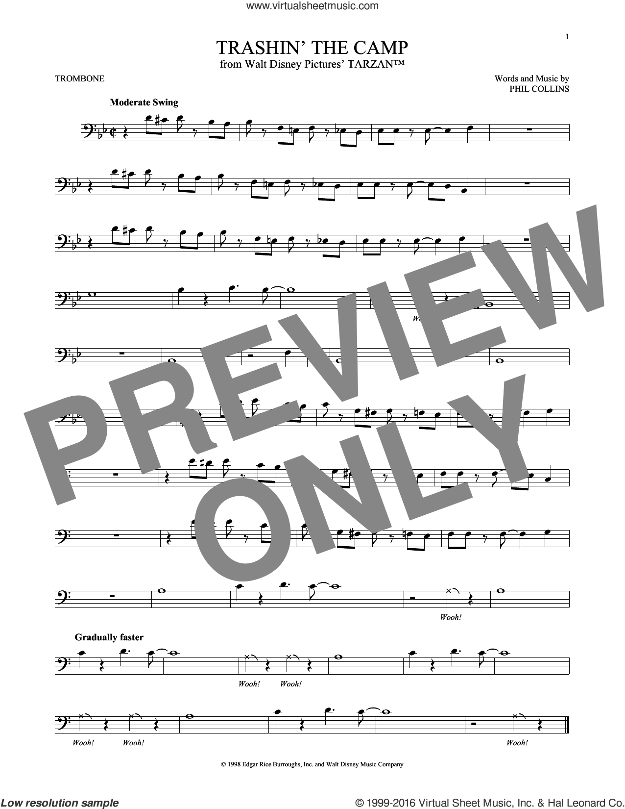 Trashin' The Camp sheet music for trombone solo by Phil Collins, intermediate skill level