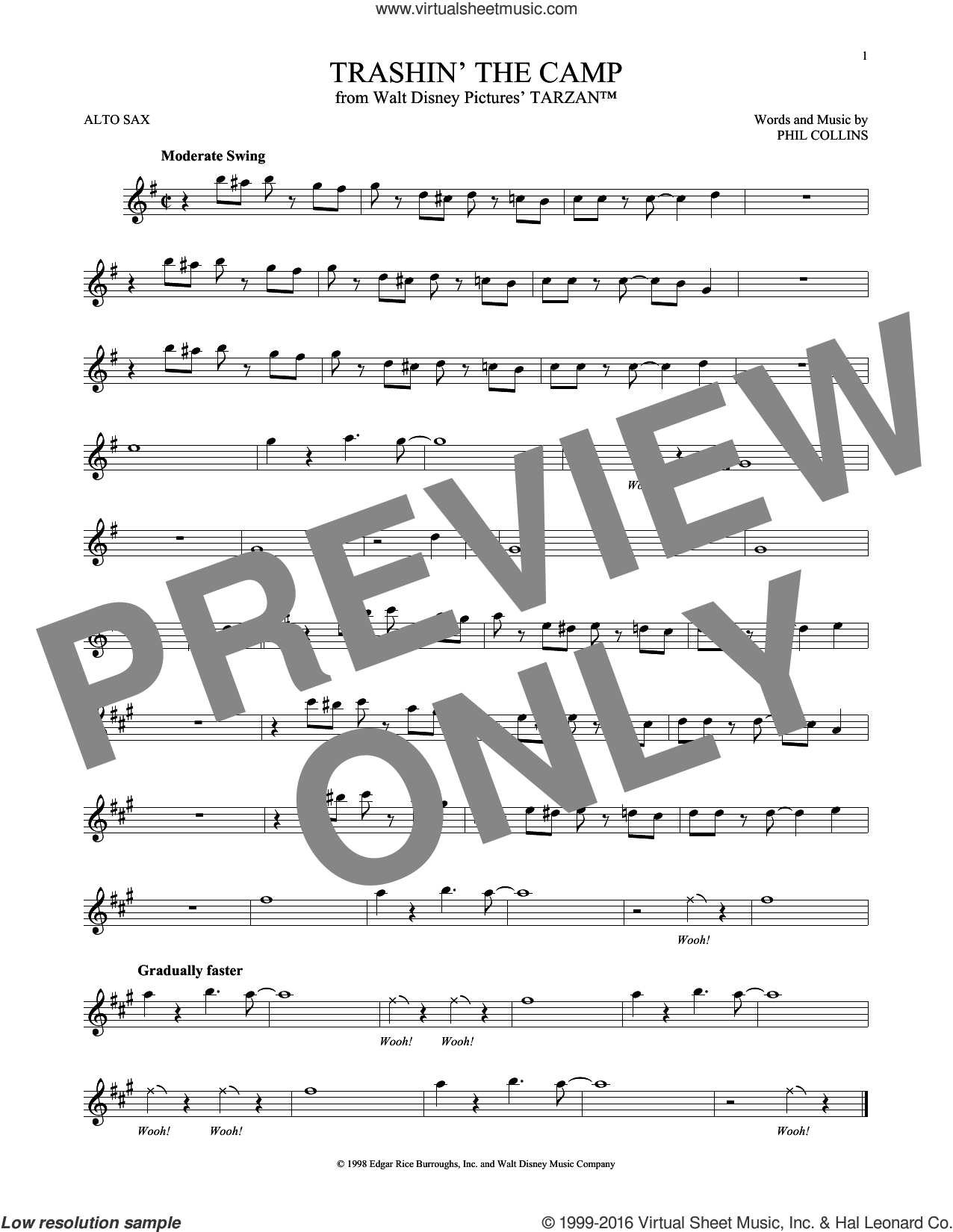 Trashin' The Camp sheet music for alto saxophone solo by Phil Collins, intermediate. Score Image Preview.