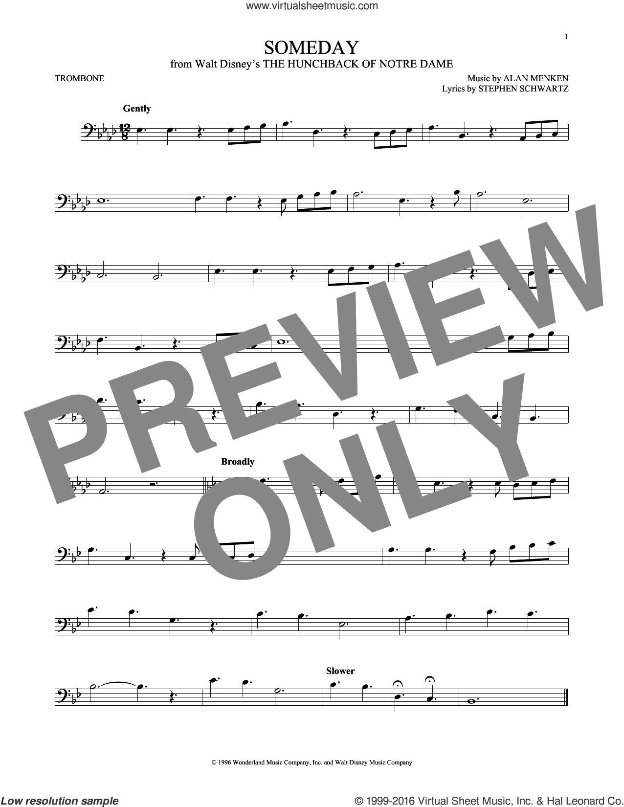 Someday (Esmeralda's Prayer) sheet music for trombone solo by Alan Menken, Donna Summer and Stephen Schwartz, intermediate skill level