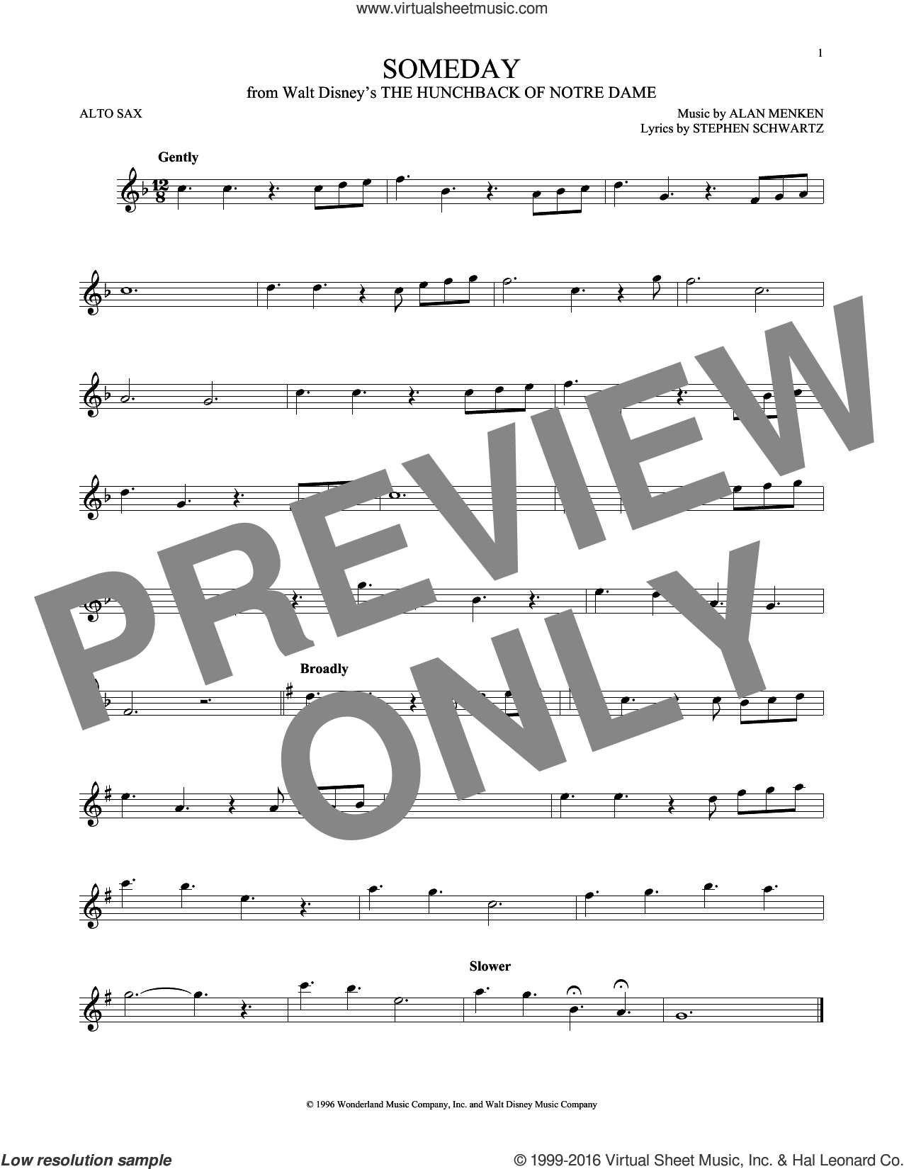 Someday (Esmeralda's Prayer) sheet music for alto saxophone solo by Alan Menken, Donna Summer and Stephen Schwartz, intermediate skill level