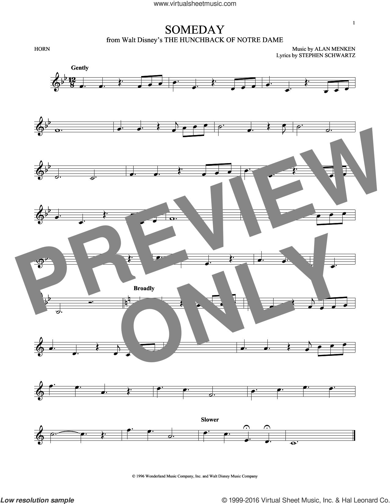 Someday (Esmeralda's Prayer) sheet music for horn solo by Alan Menken, Donna Summer and Stephen Schwartz. Score Image Preview.